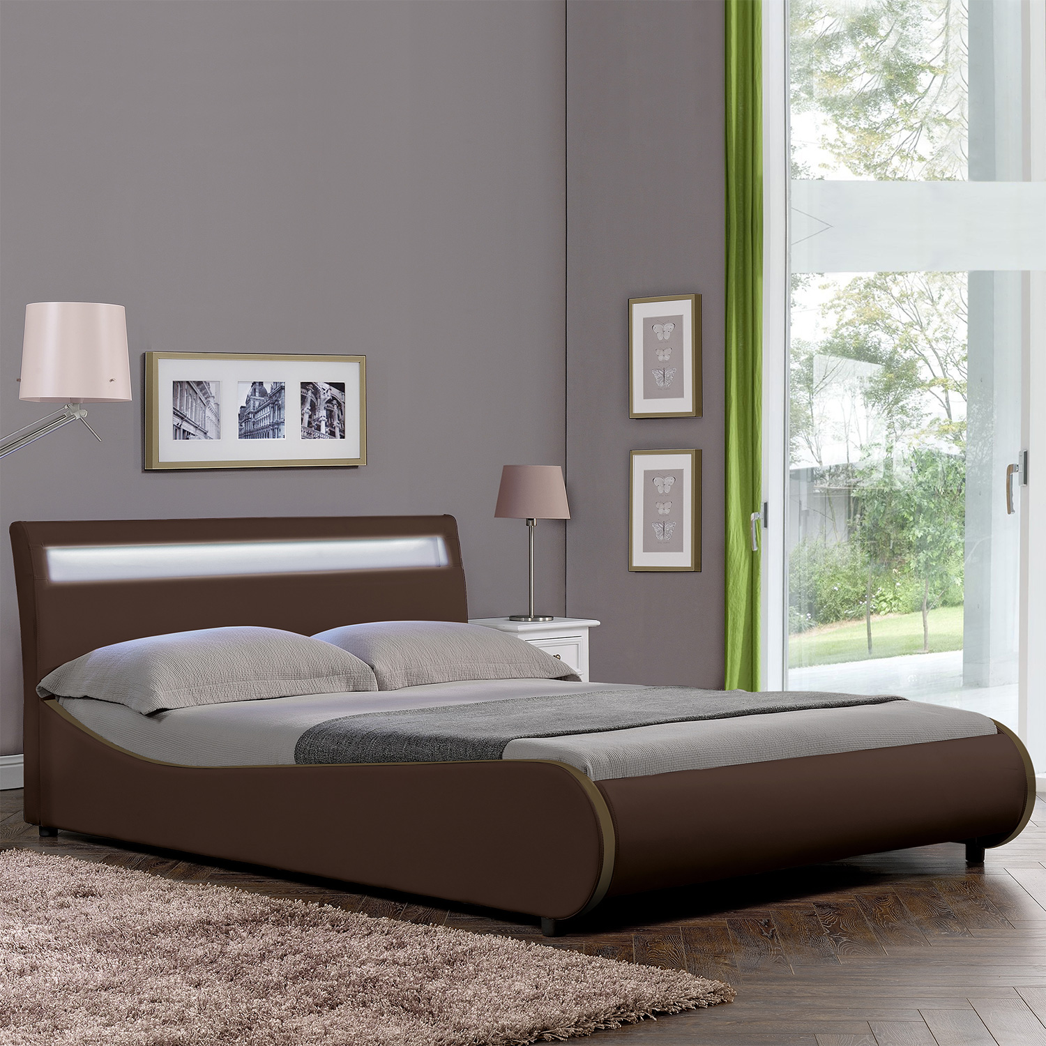 corium led polsterbett 140 180 x 200cm kunst leder doppel ehe bett schwarz wei ebay. Black Bedroom Furniture Sets. Home Design Ideas