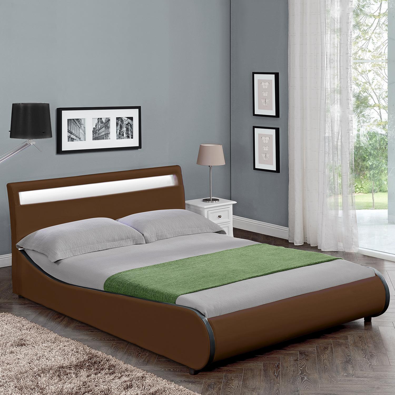 corium led polsterbett 140 180 x 200cm kunst leder doppel ehe bett schwarz wei ebay. Black Bedroom Furniture Sets. Home Design Ideas