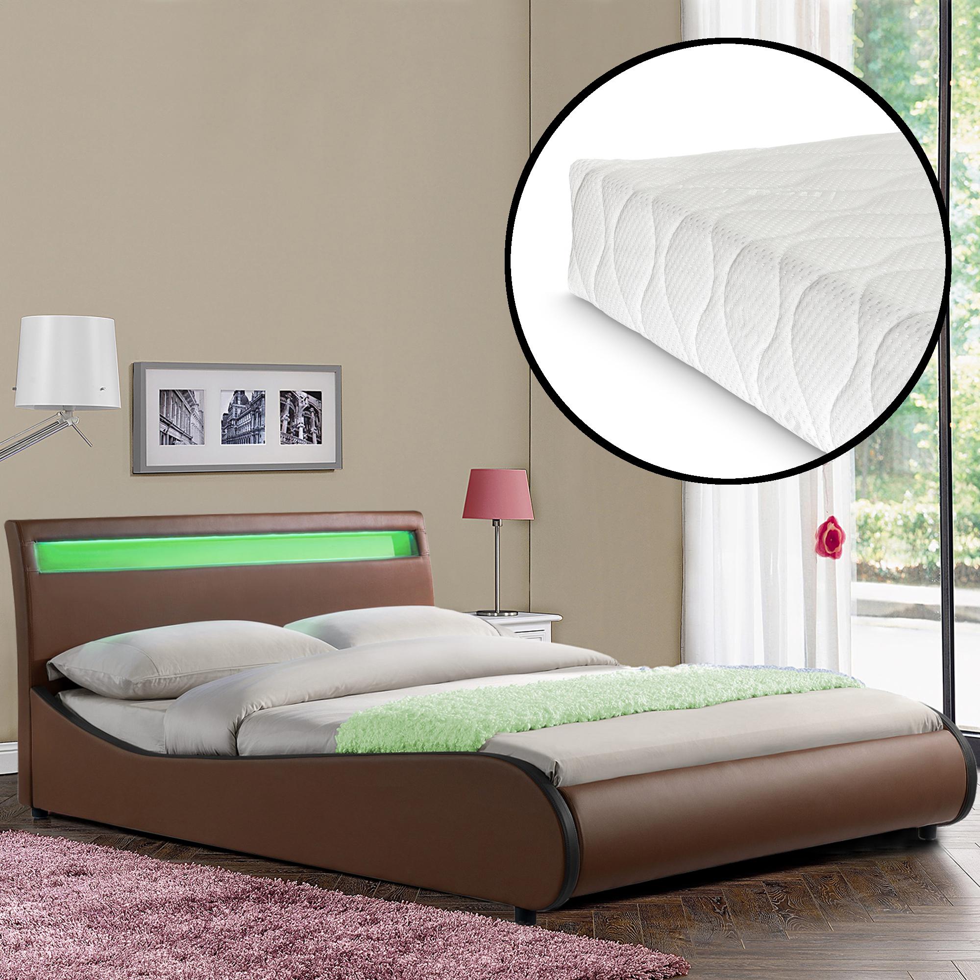 corium led polsterbett mit matratze 140 x 200 cm braun. Black Bedroom Furniture Sets. Home Design Ideas