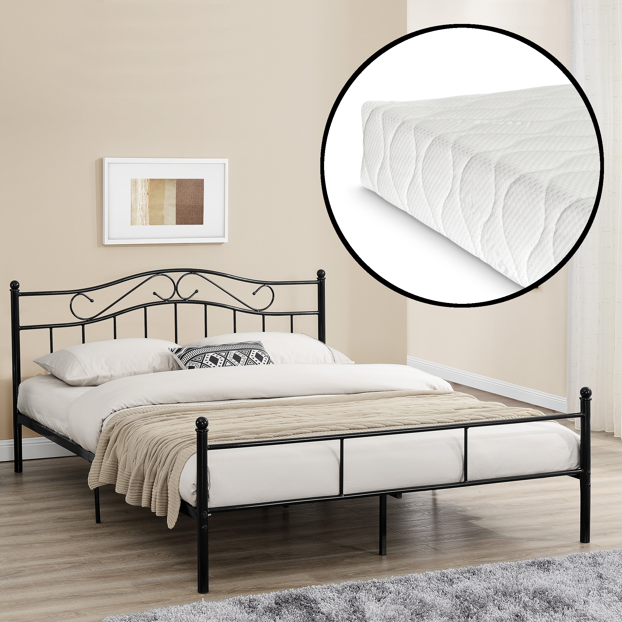 lit en m tal avec matelas 200x200cm noir lit. Black Bedroom Furniture Sets. Home Design Ideas