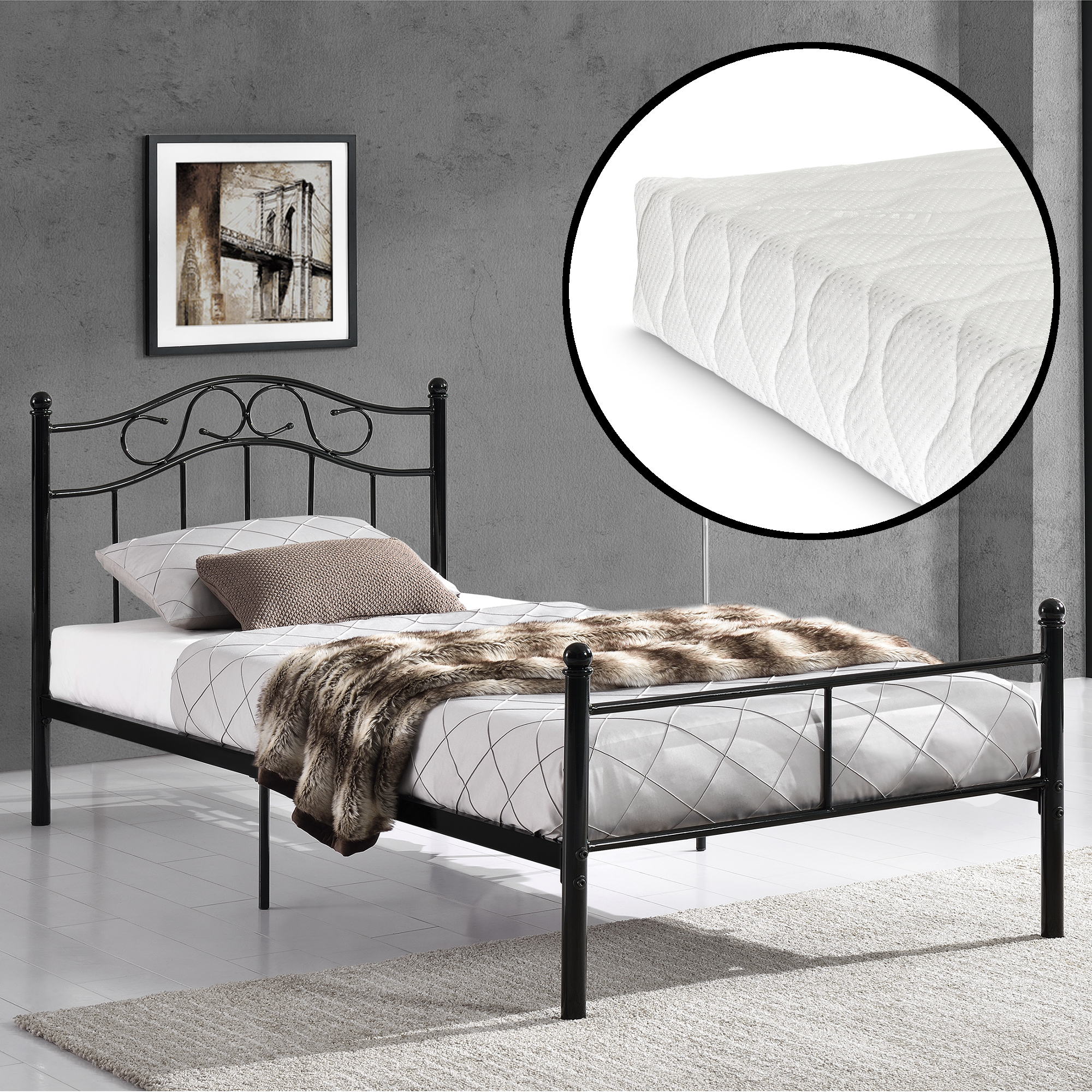 metallbett 90x200 schwarz mit matratze bett jugendbett metall kopfteil ebay. Black Bedroom Furniture Sets. Home Design Ideas
