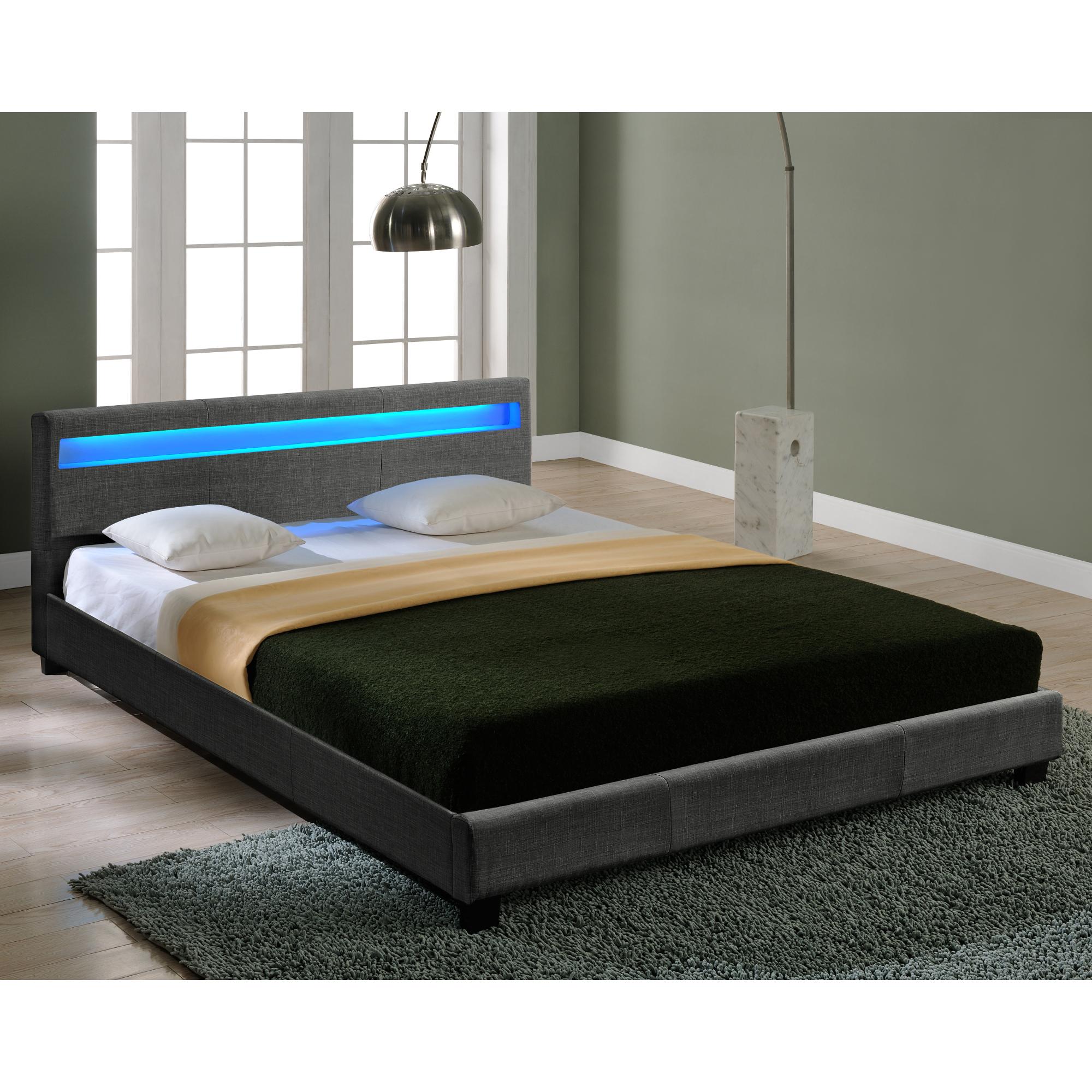 CORIUM® LED Textil Doppelbett Polsterbett 140x200cm Bettgestell Bett ...