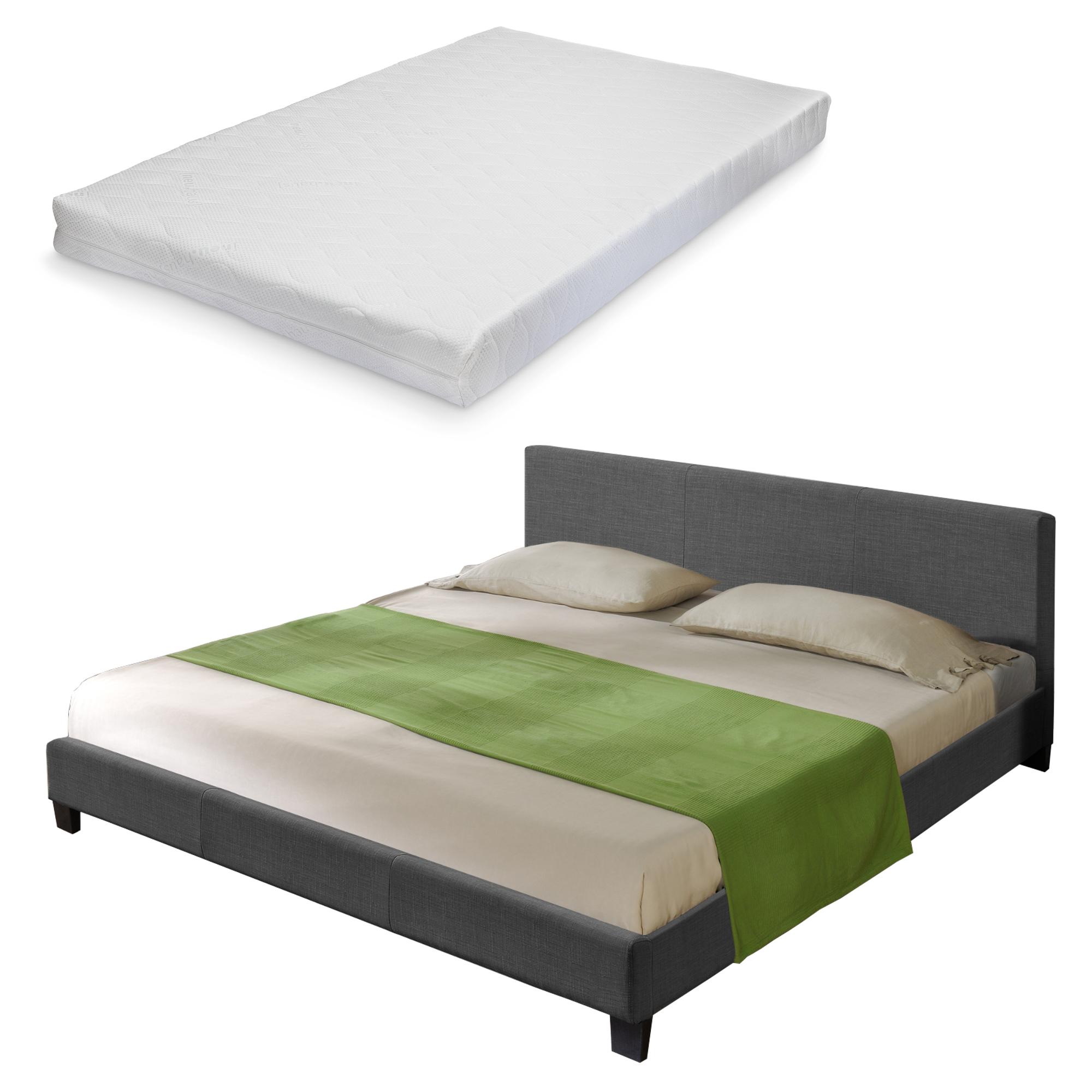 corium grand lit matelas sommier tapissier 140x200cm sommier lattes tissu ebay. Black Bedroom Furniture Sets. Home Design Ideas