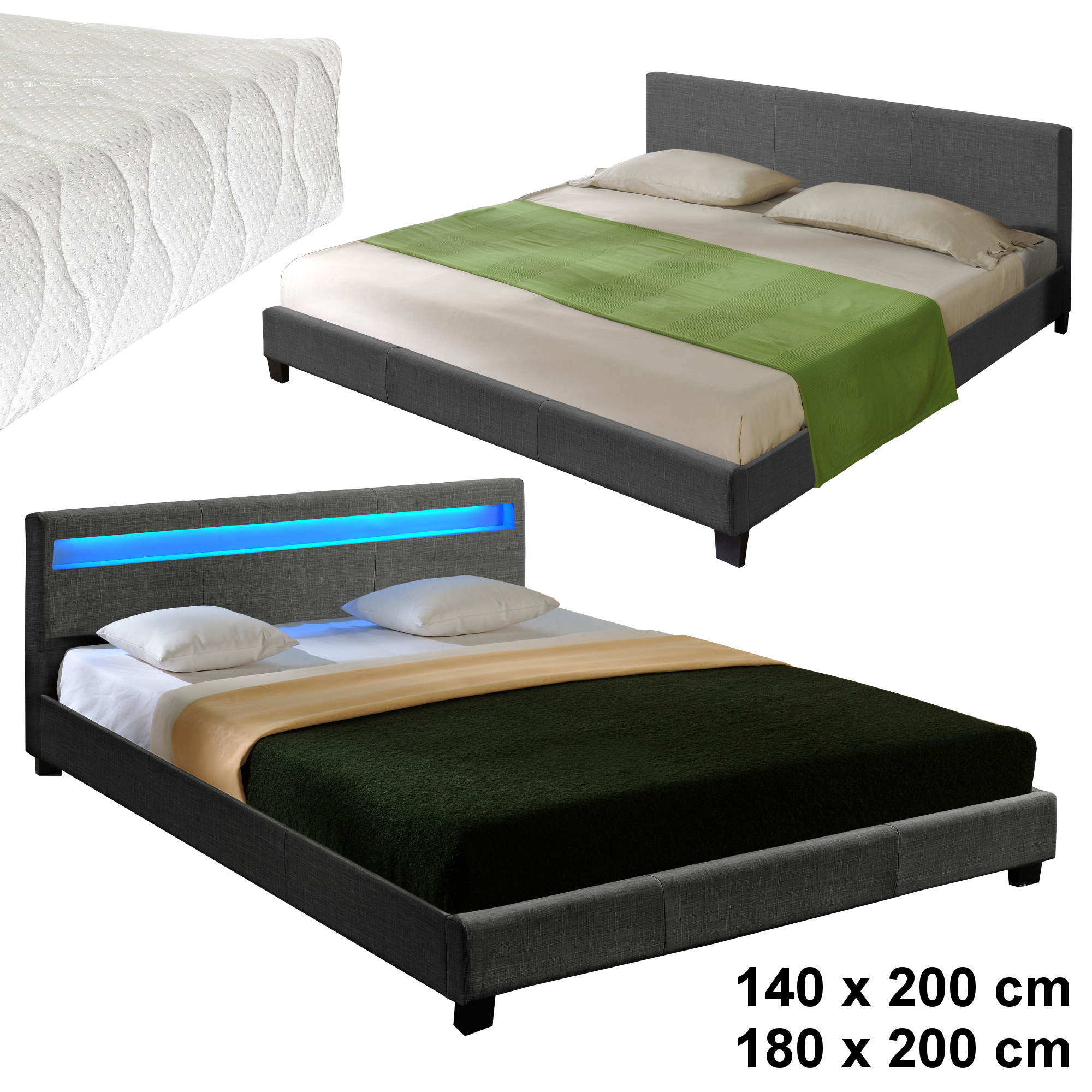 corium textil doppelbett led polsterbett 140 180 x 200cm bettgestell bett stoff ebay. Black Bedroom Furniture Sets. Home Design Ideas