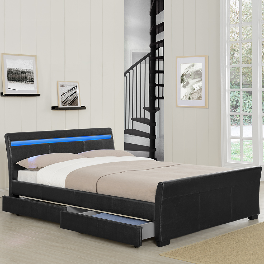 corium schubladenbett 140 180x200 led polster kunst leder doppel bett kasten ebay. Black Bedroom Furniture Sets. Home Design Ideas