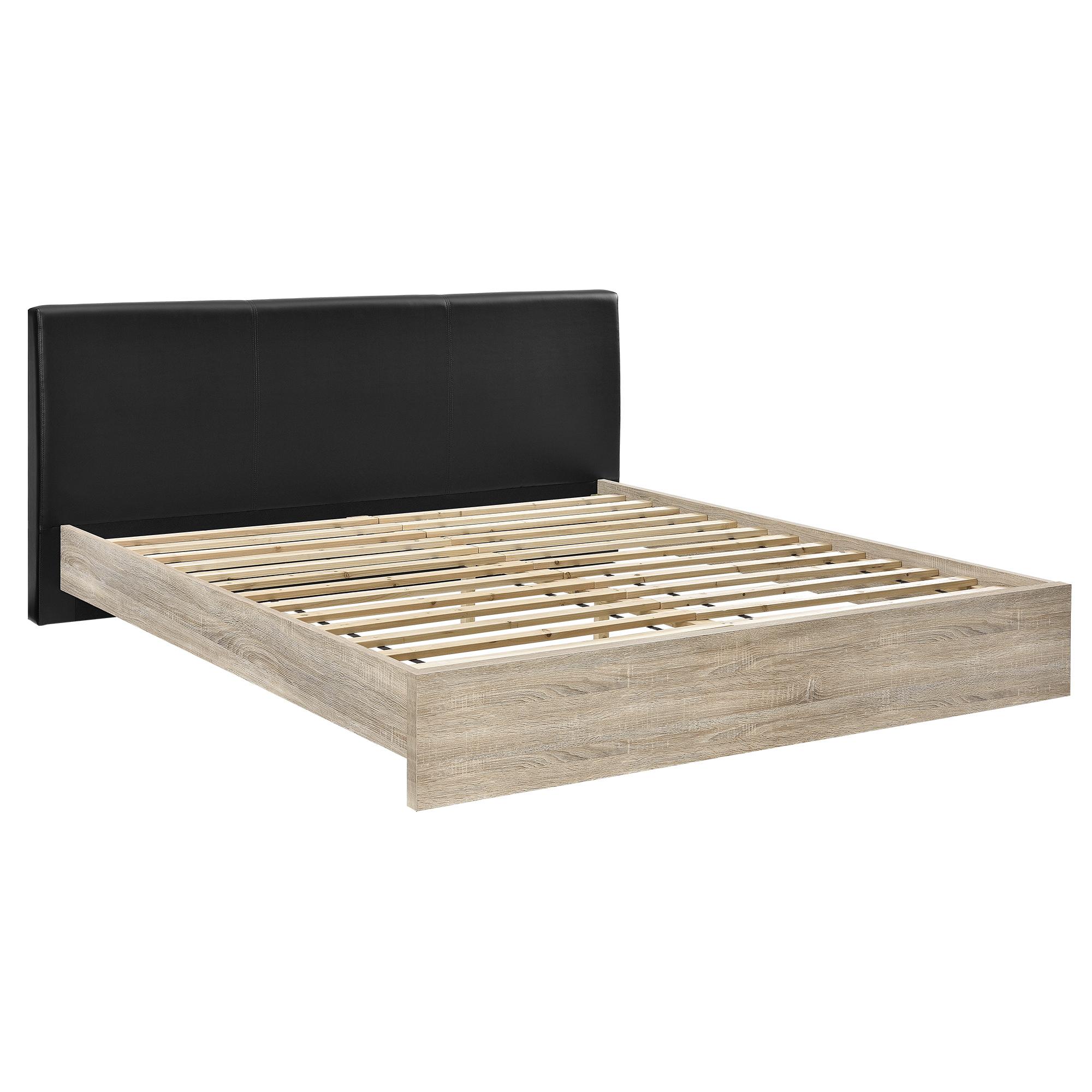 en.casa] Cama doble tapizada cuero sintético 180x200cm, madera ...