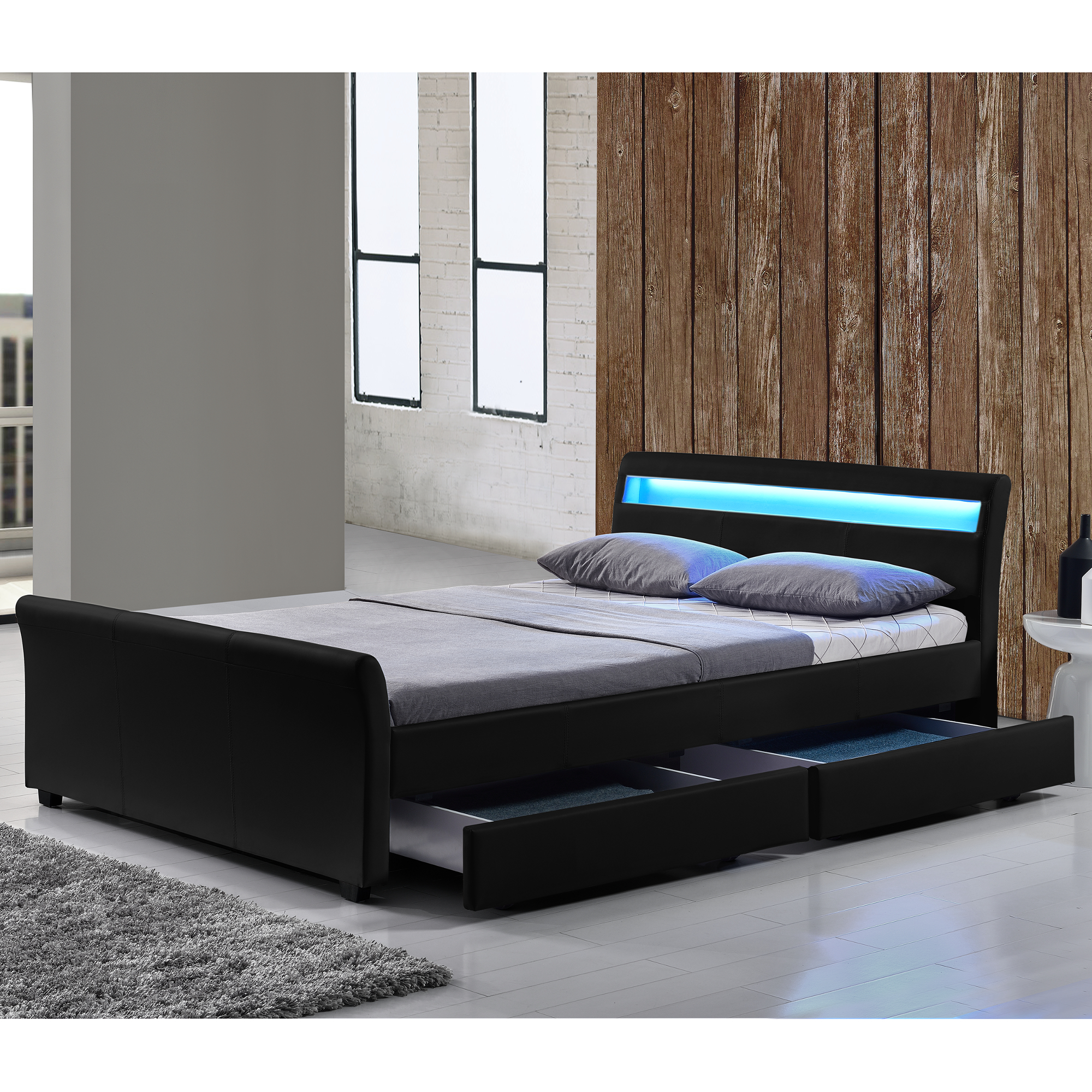 led polsterbett 140 160 180 200 x 200 cm doppel ehe bett gestell kunst leder ebay. Black Bedroom Furniture Sets. Home Design Ideas