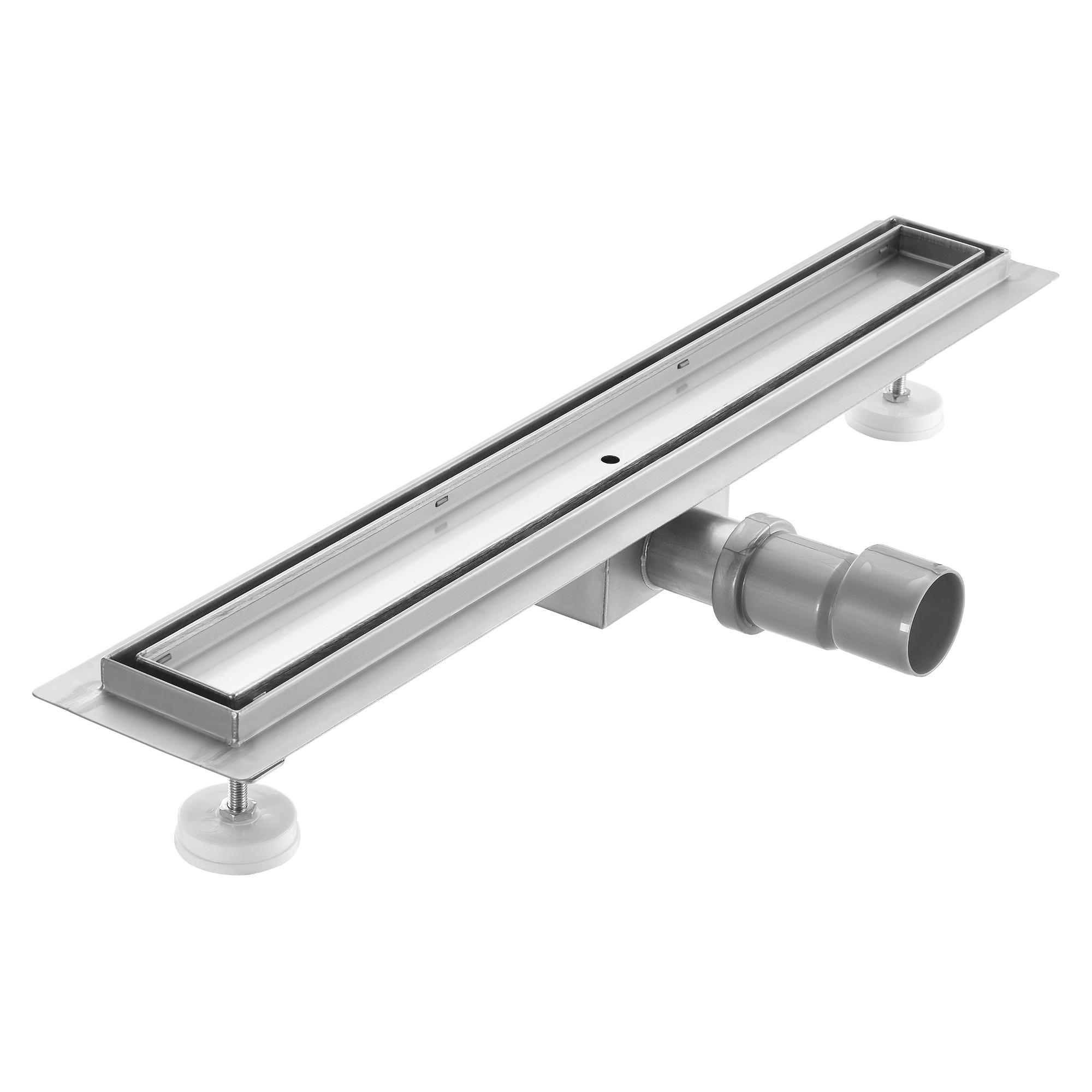 [neu.haus]® Nerezový sprchový kanálek – moderní design s roštem - pro dlažbu - (90x7cm)