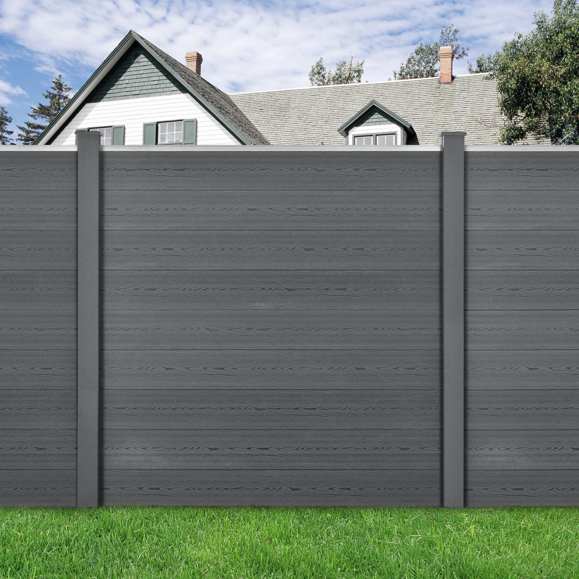 Neu Holz Steccato Recinzione 183x187cm Wpc 2 Colonne 9 Doghe