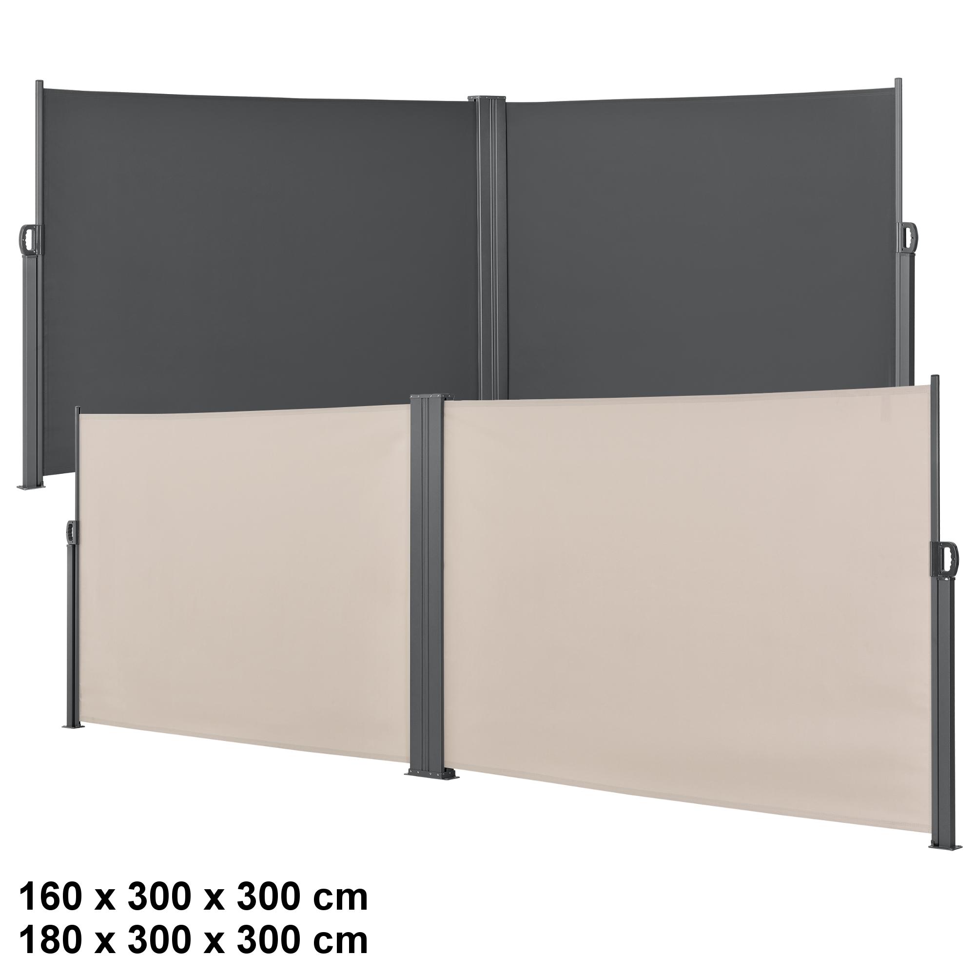 Doppel Seitenmarkise Sichtschutz 160 180x600 Seitenwand