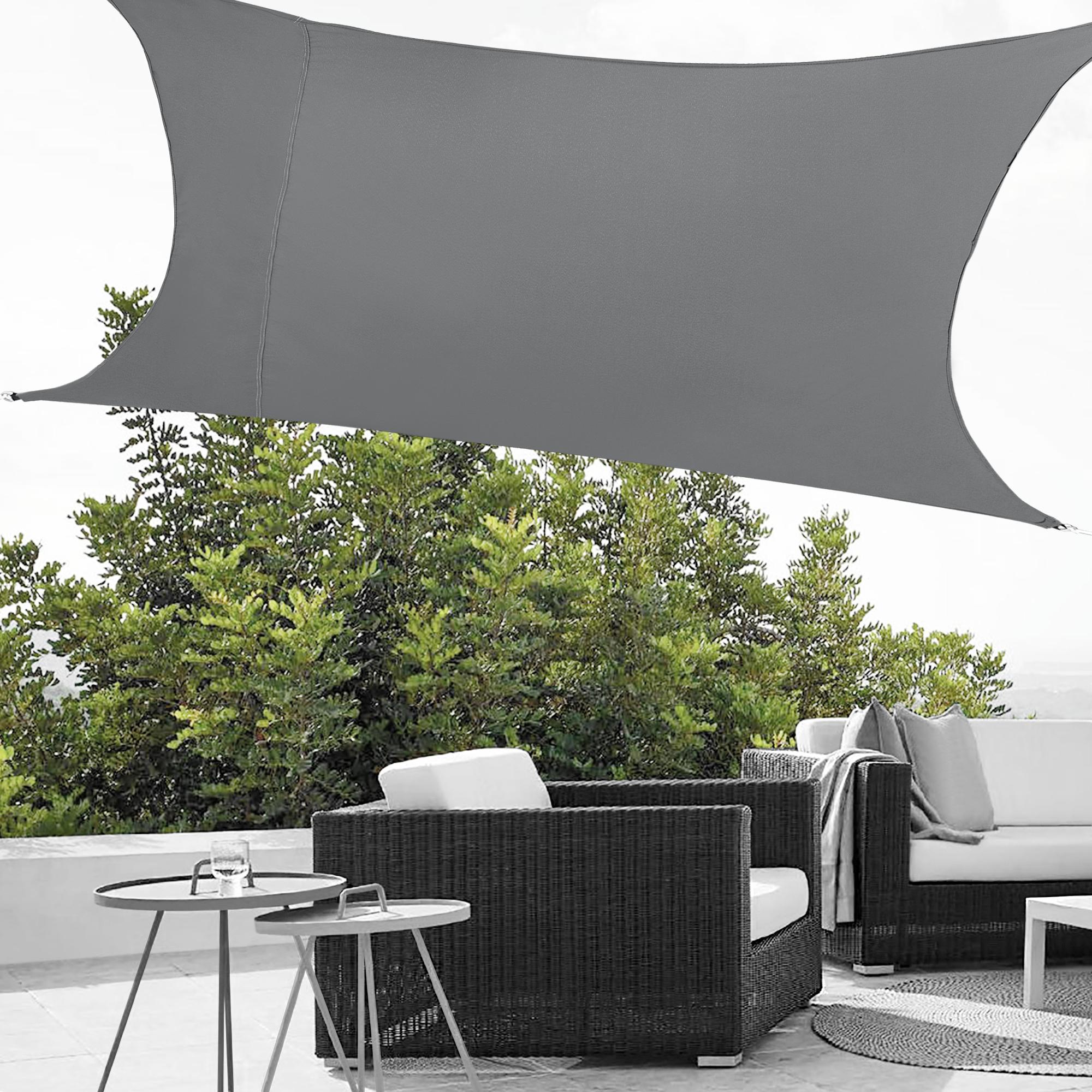 BUONDAC Toldo Vela de Sombra 3x3 Metros Impermeable de Tela Parasol para Jardin Terraza Patio Gris