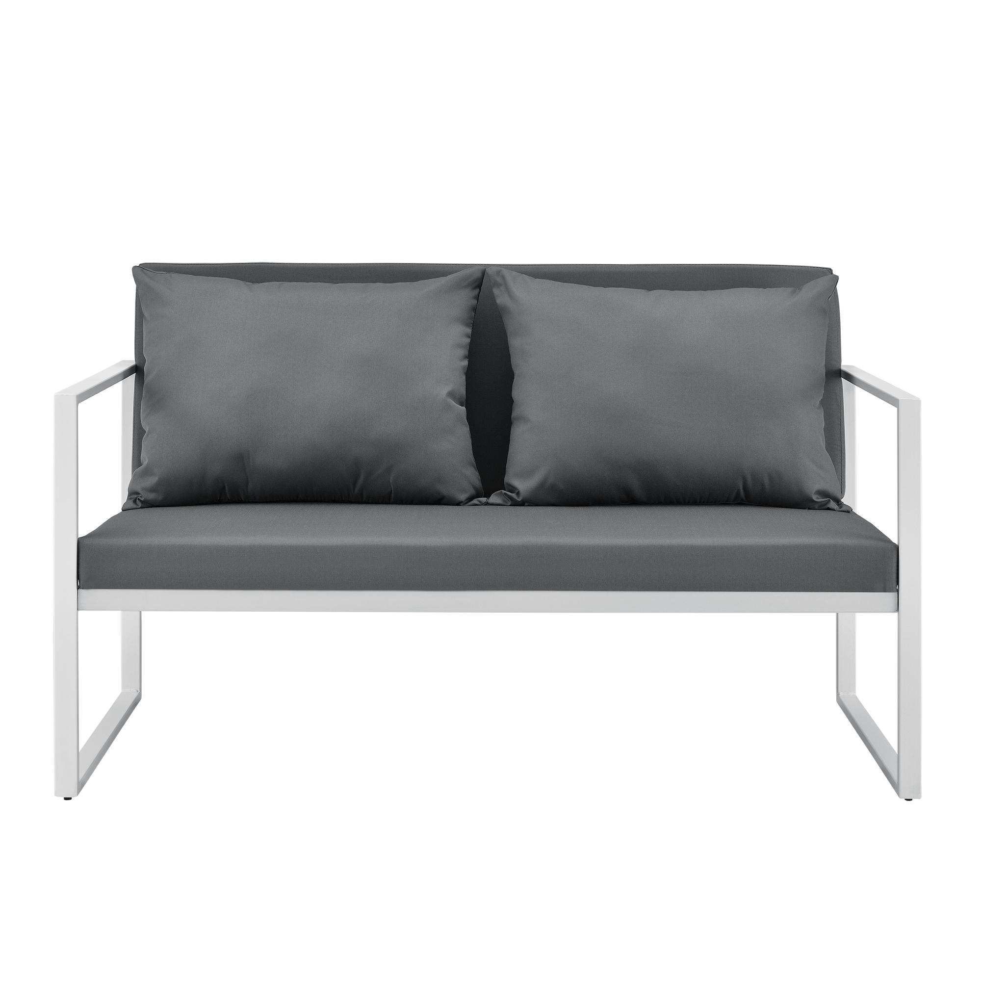 gartenbank gartensofa grau wei bank parkbank. Black Bedroom Furniture Sets. Home Design Ideas