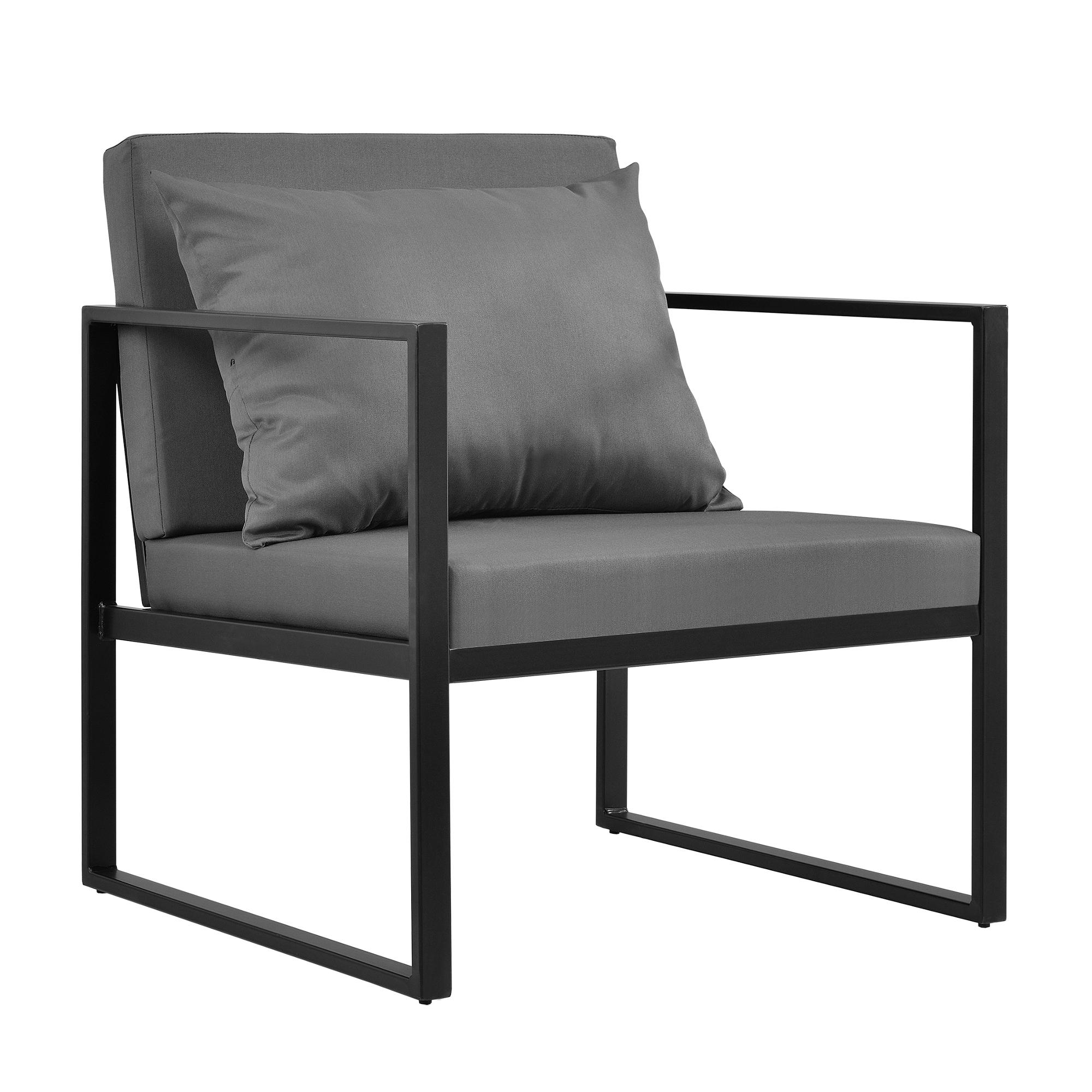 Détails sur [casa.pro]® Salon de jardin Table avec canapé et chaises Métal  Verre Polye Noir