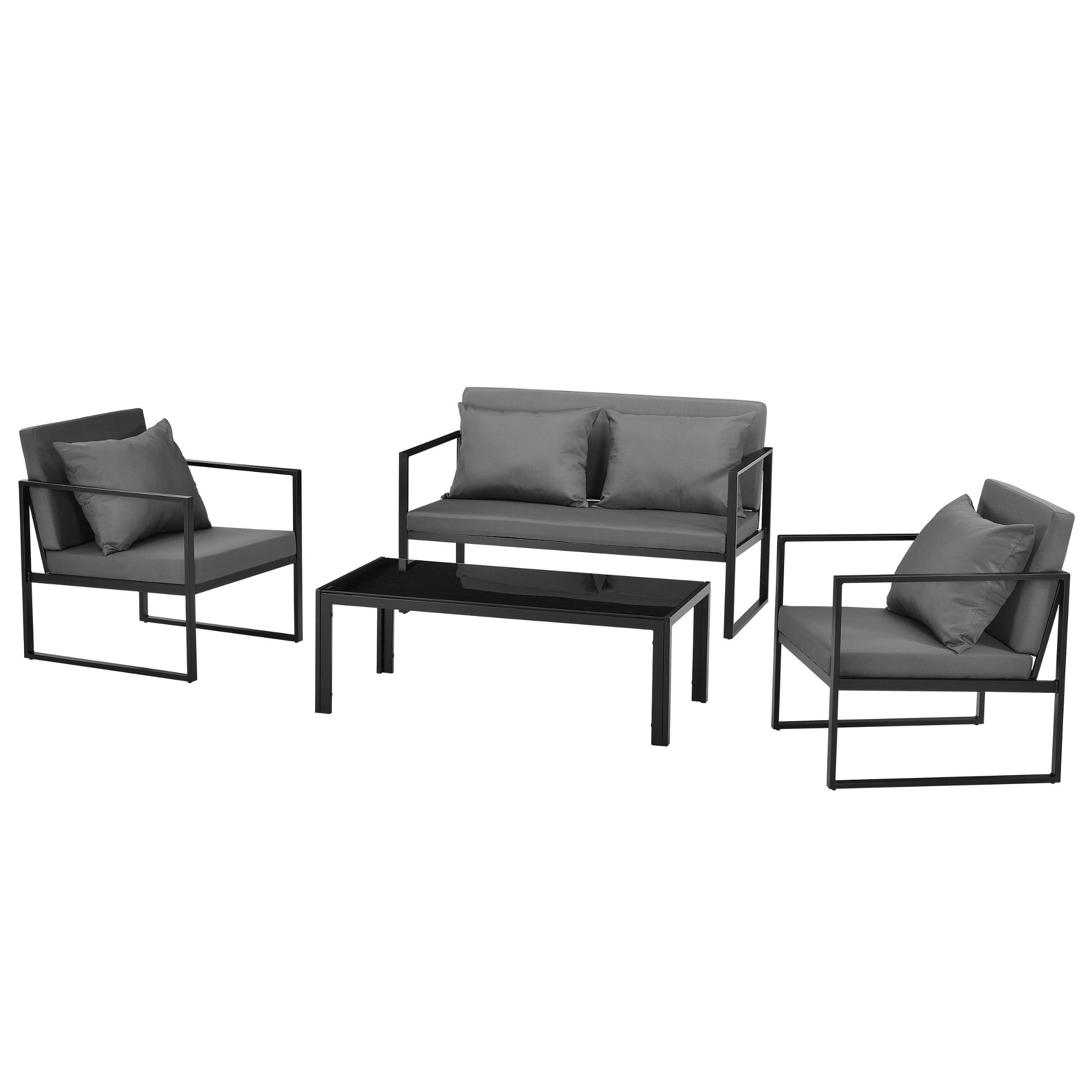 casa.pro]® Salon de jardin Table avec canapé et chaises Métal Verre ...