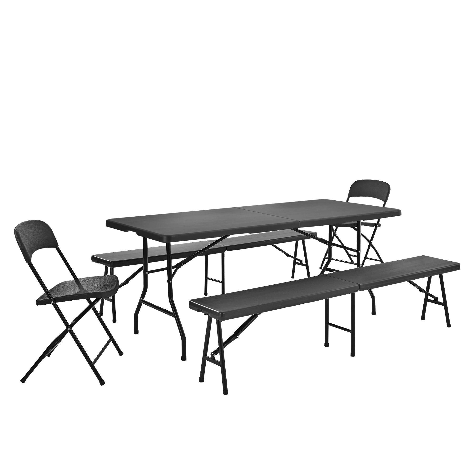 tisch 2 st hle b nke grau tischgruppe camping bier garten gruppe ebay. Black Bedroom Furniture Sets. Home Design Ideas