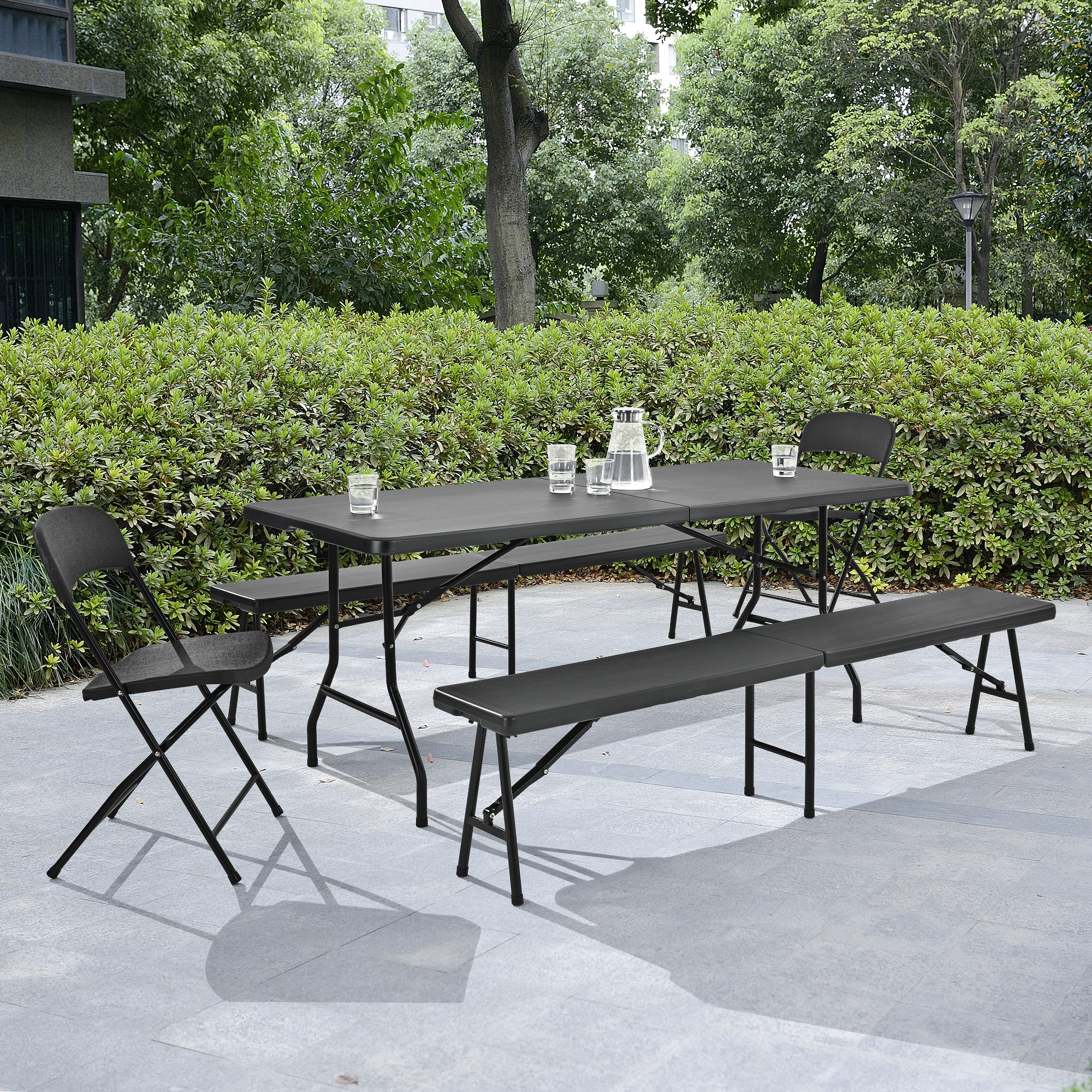 Détails sur Table Pliante Table de Buffet Gris 183x76cm à Manger Jardin  Camping Table