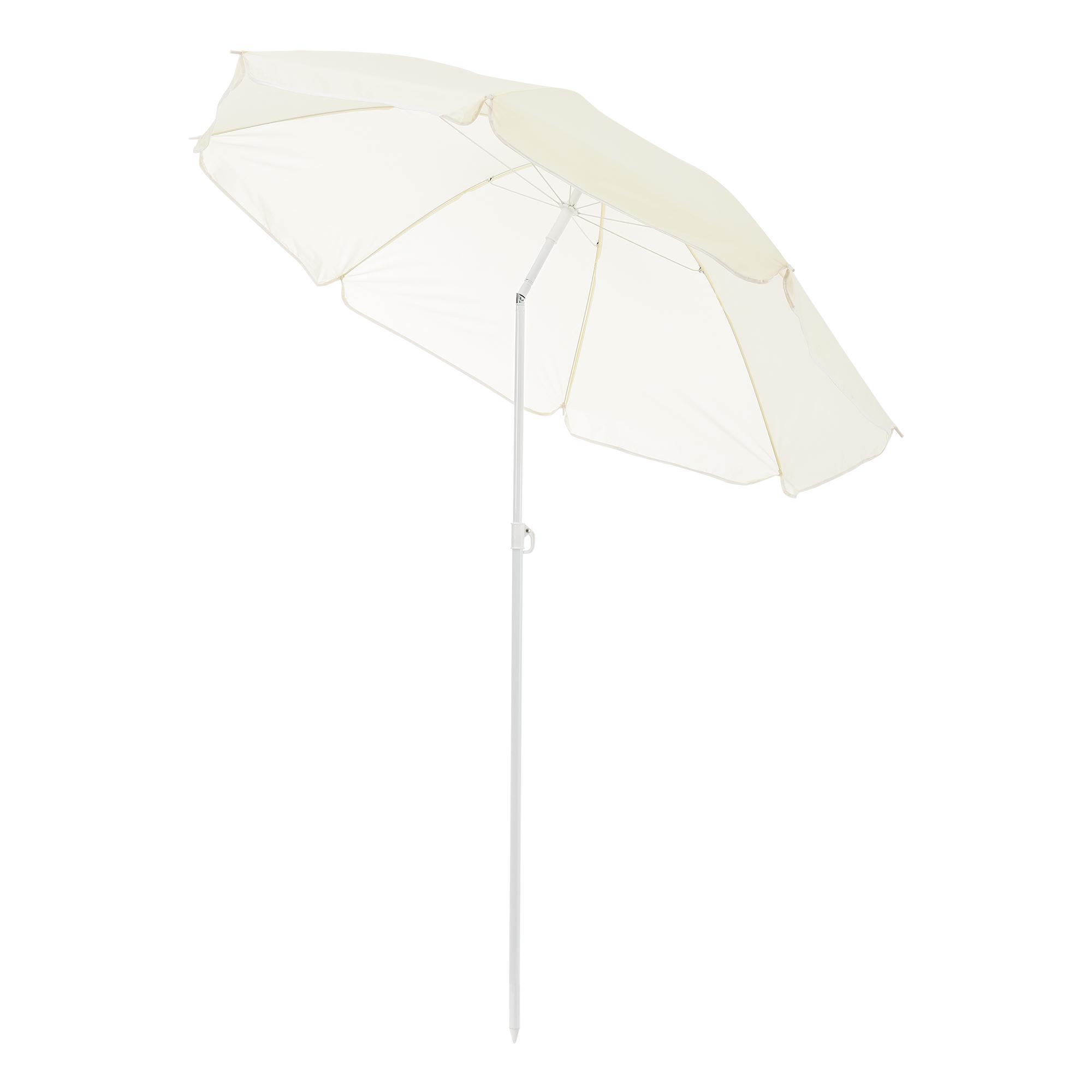 Strandschirm 180cm Creme Sonnenschirm Schirm Gartenschirm Knickgelenk casa.pro