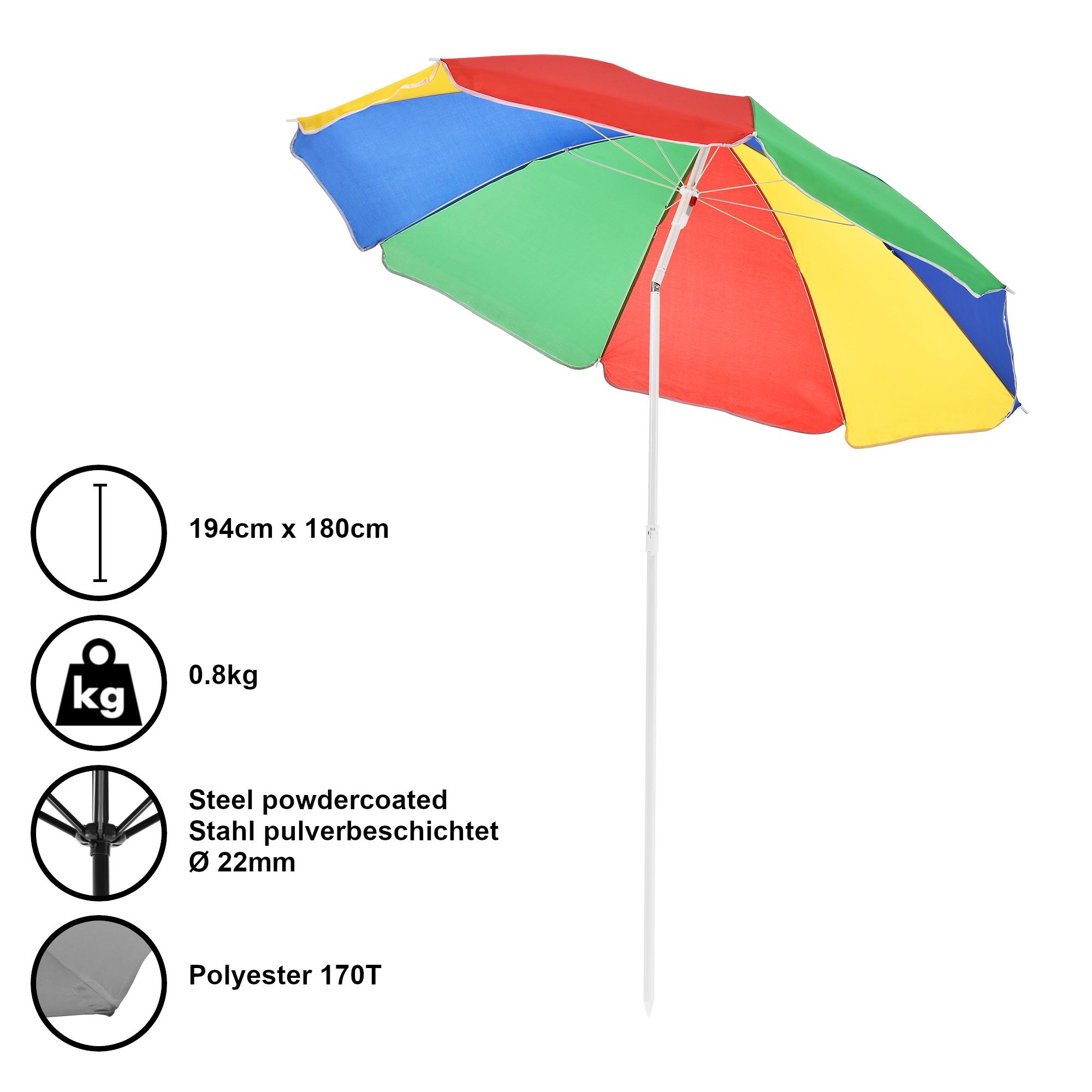 Ombrellone Da Spiaggia Pieghevole.Casa Pro Ombrellone Spiaggia O180cm Multicolore Sole Ombrellone