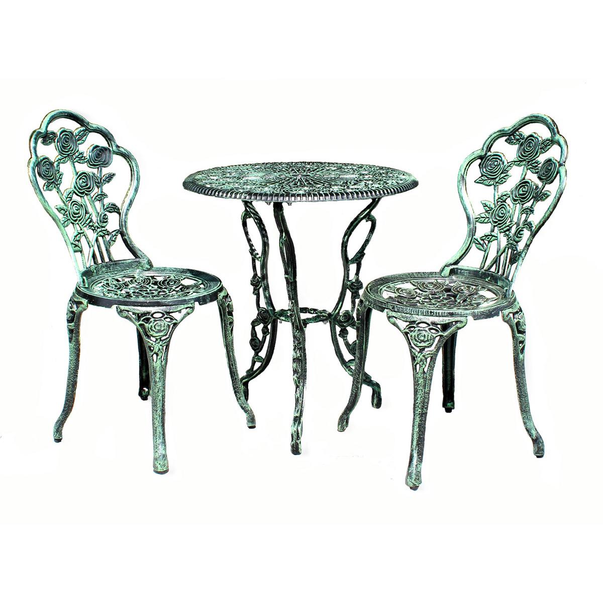 Détails sur Table+2 Chaises Banc Blanc Antique Vert Bistrot Ensemble pour  Jardin de Siège
