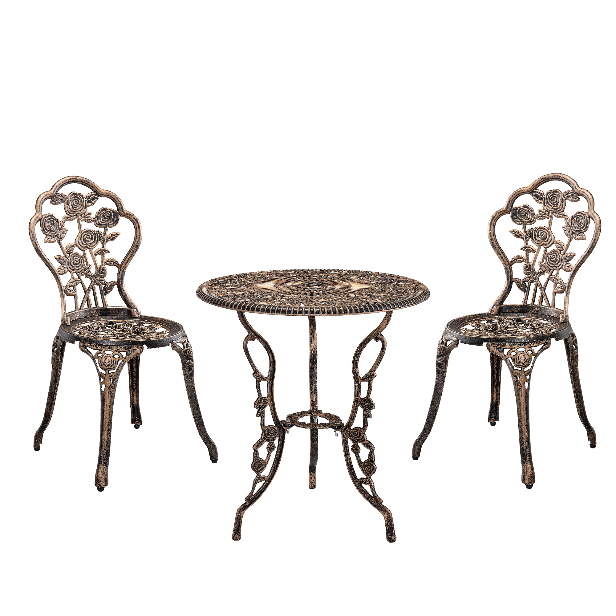 tisch 2 st hle gusseisen antik bronze bistro set garten sitzgarnitur ebay. Black Bedroom Furniture Sets. Home Design Ideas