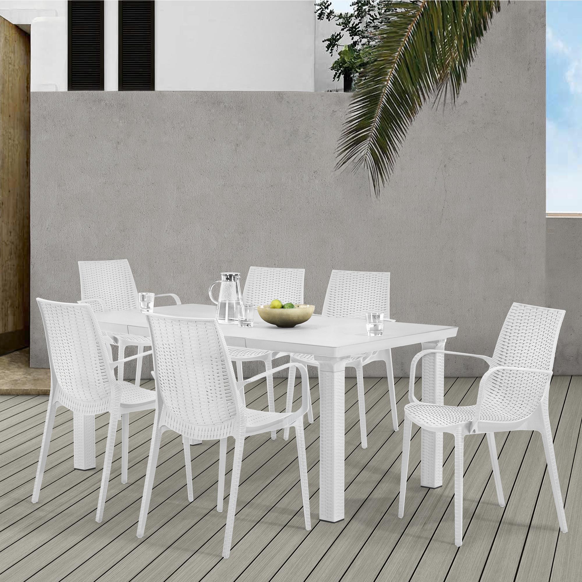 Esstisch Rattan Weiß ~ [casapro]® Sitzgruppe Gartenmöbel Weiß PolyRattan Optik Esstisch + 6 Stühle