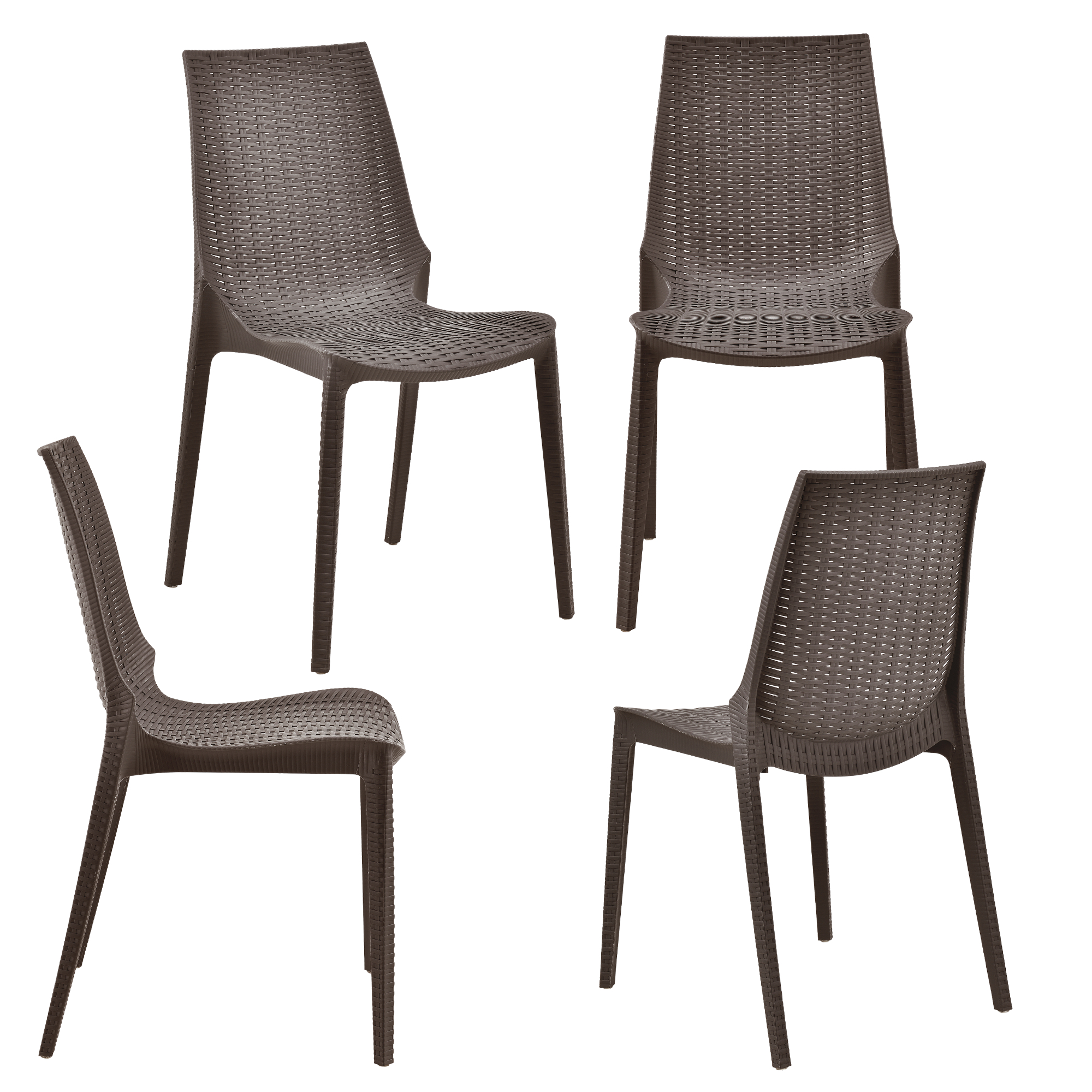 ensemble table 6 chaises meuble du jardin marron aspect rotin ebay. Black Bedroom Furniture Sets. Home Design Ideas