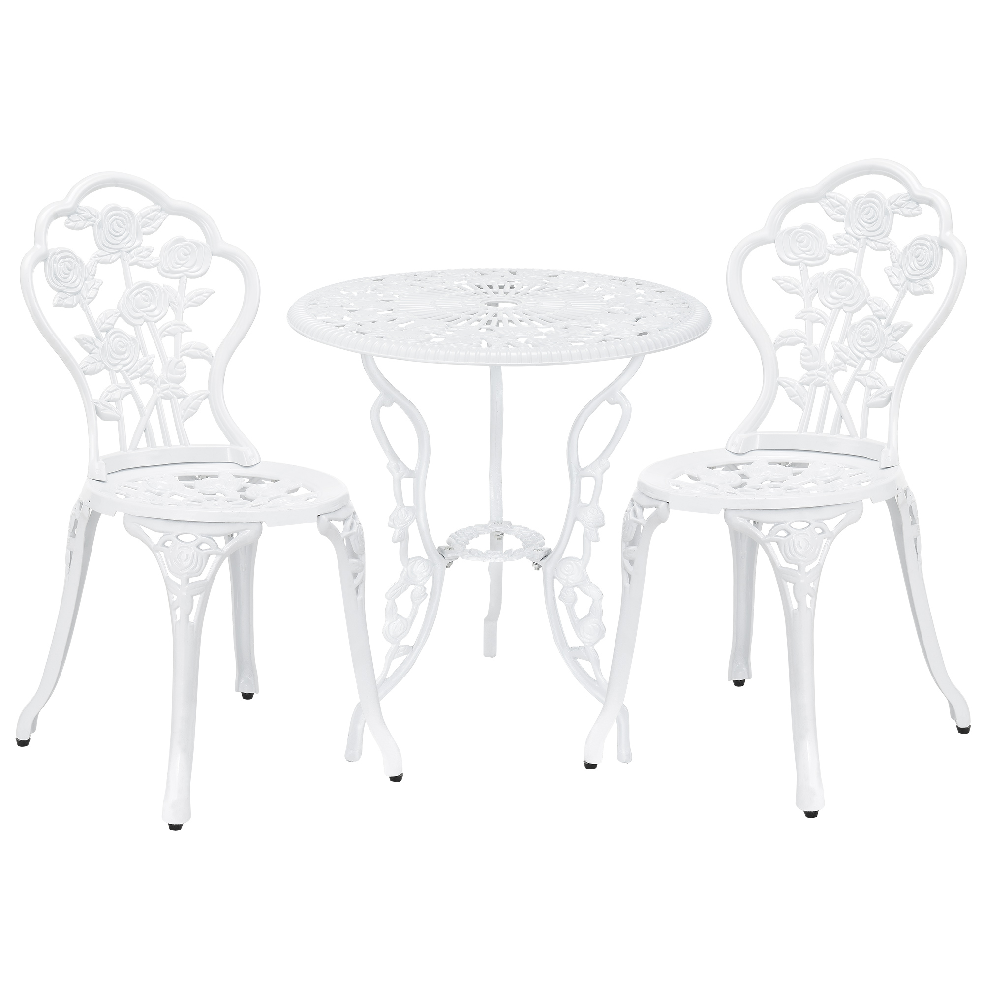 tisch 2 st hle gusseisen antik weiss bistro set garten sitzgarnitur alu guss ebay. Black Bedroom Furniture Sets. Home Design Ideas