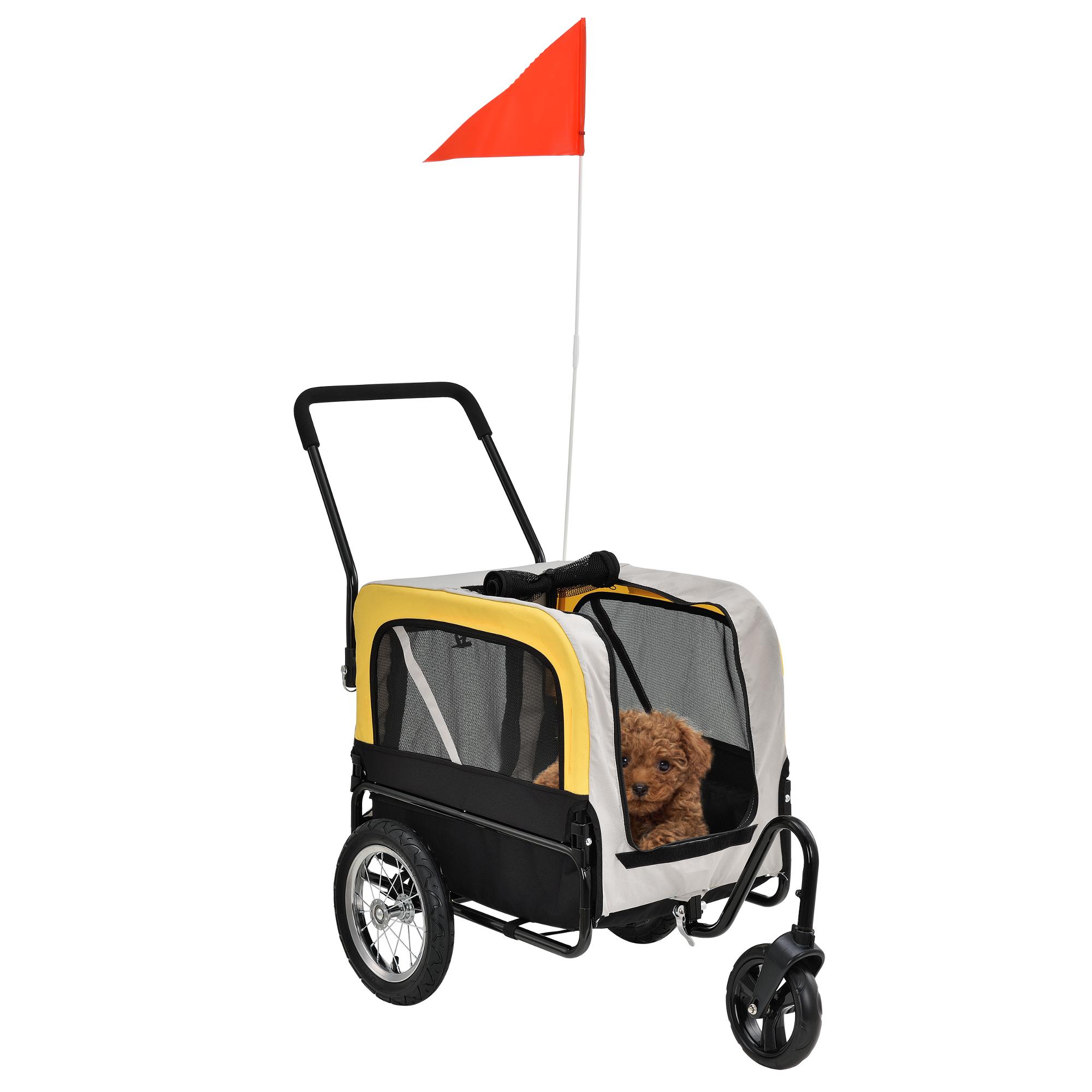 [pro.tec]® Vozík za kolo - kočárek - 2 v 1 - do 25 kg - 107 x 56 x 97 cm