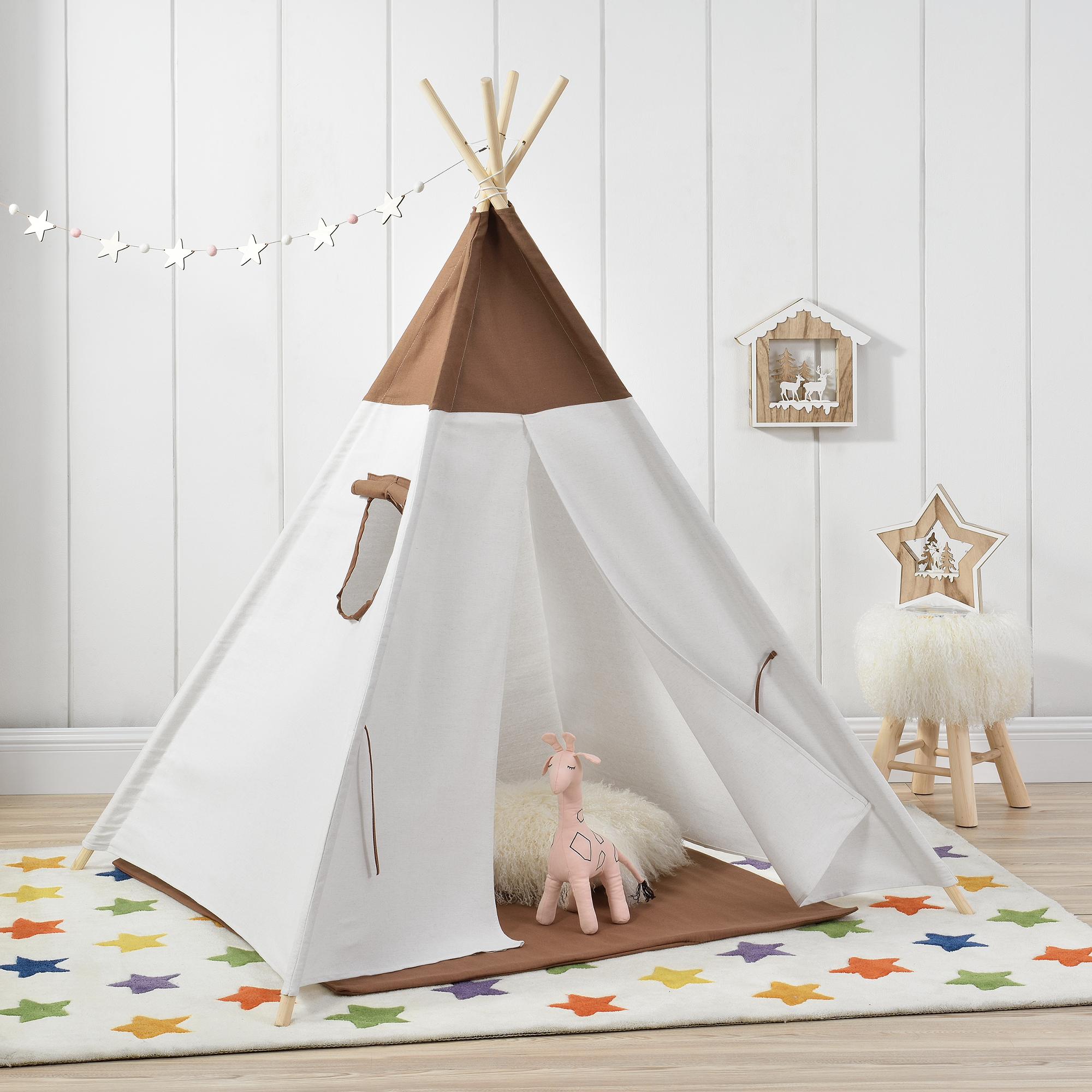 kinderzelt braun wei spielzelt babyzelt. Black Bedroom Furniture Sets. Home Design Ideas