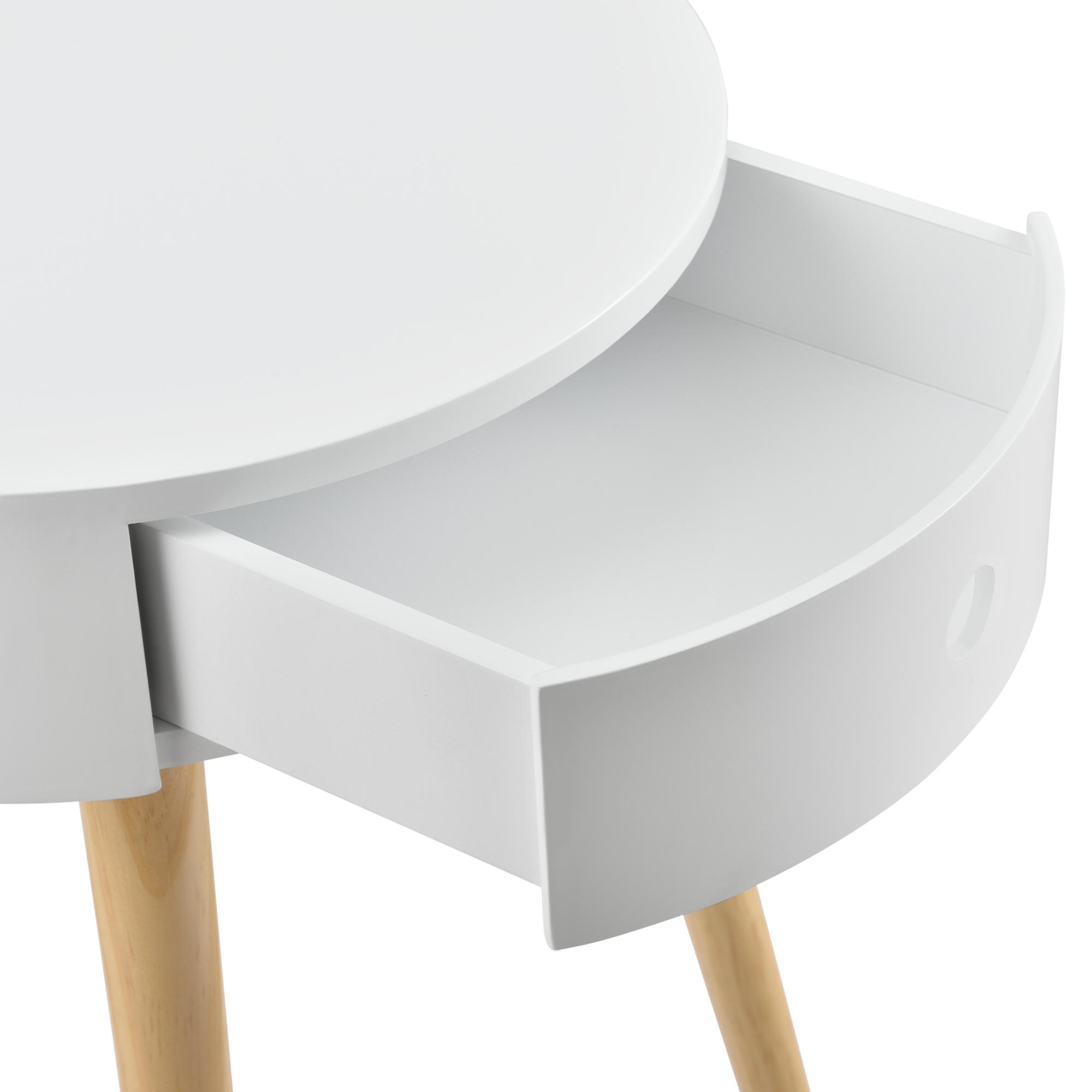 en.casa Beistelltisch Kommode Nachttisch Nachtschrank Nachtkommode Ablage Weiß