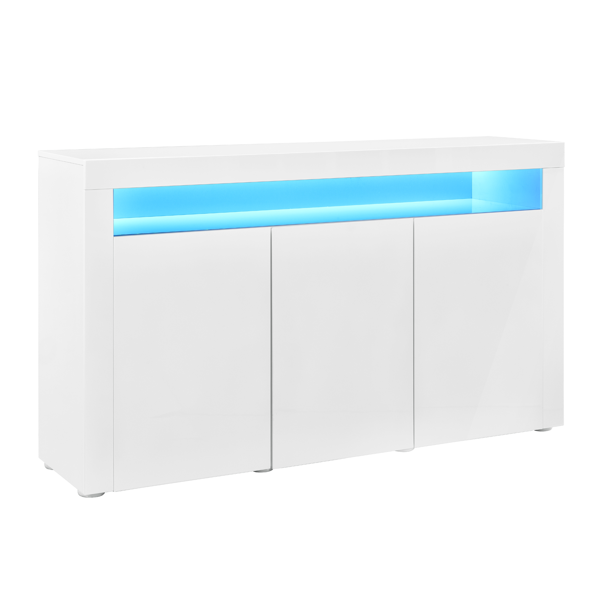 led sideboard wei hochglanz kommode wohnwand anrichte highboard ebay. Black Bedroom Furniture Sets. Home Design Ideas
