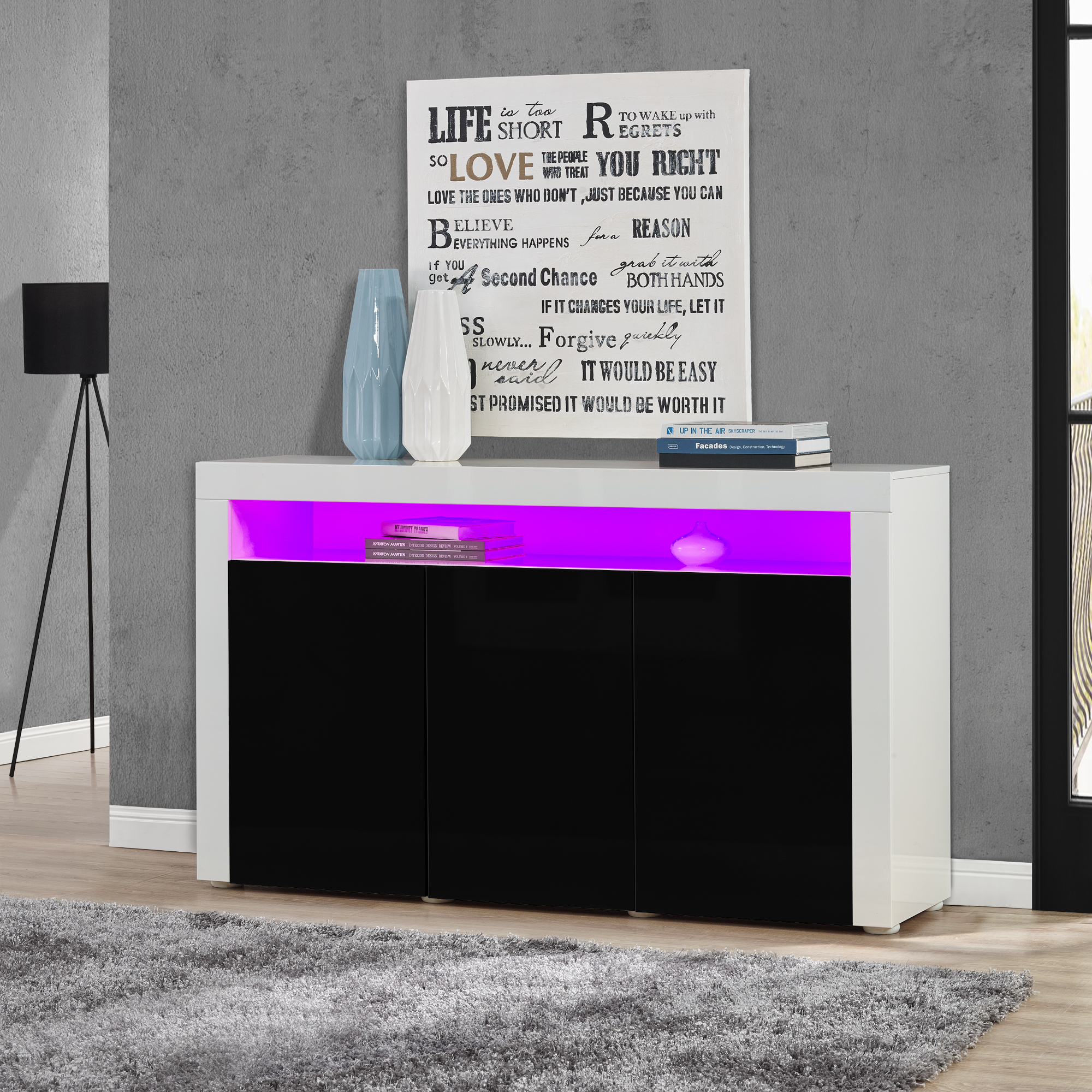 Led sideboard schwarz hochglanz kommode for Sideboard kommode