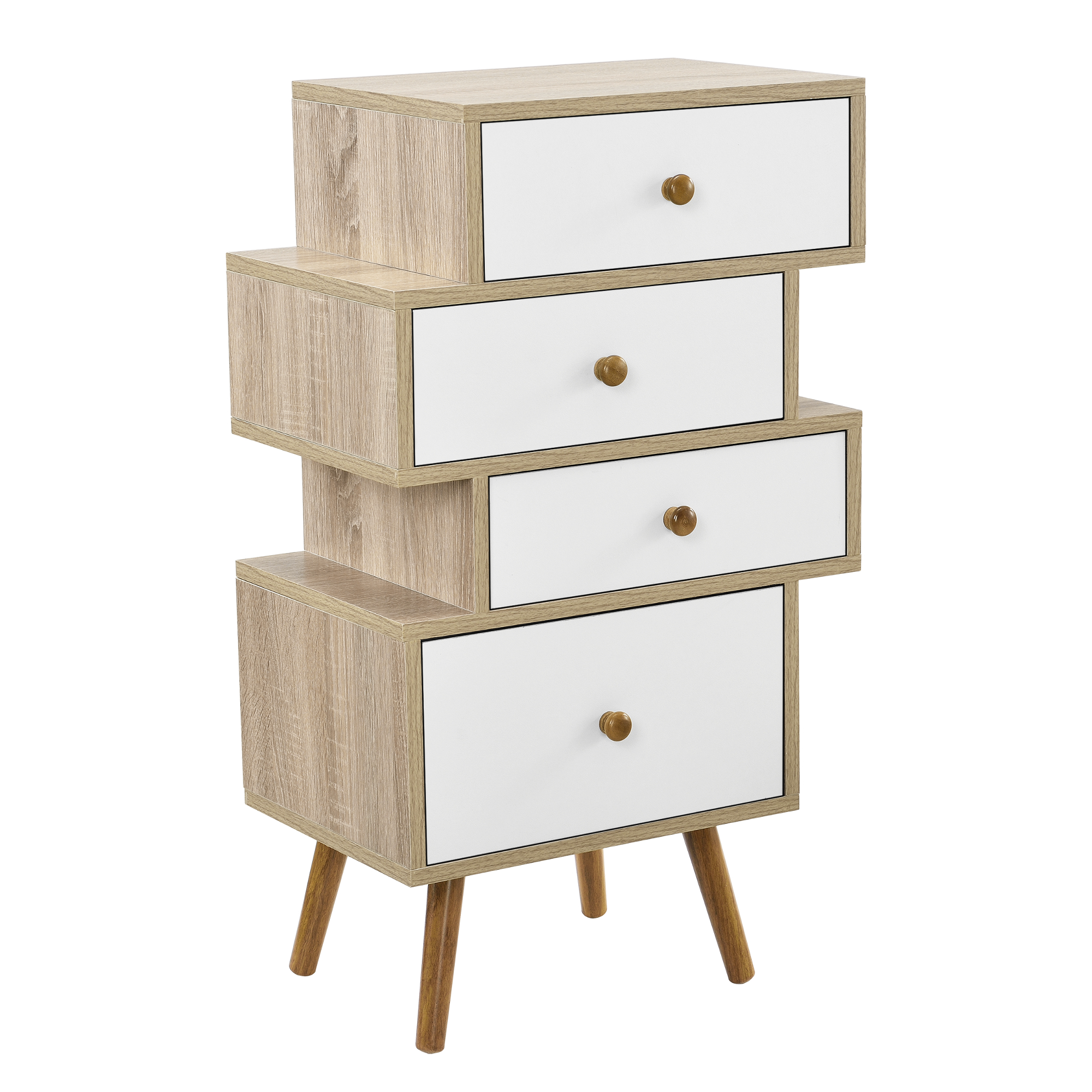 [en.casa]® Dulap – Comoda  cu 4 sertare – lemn