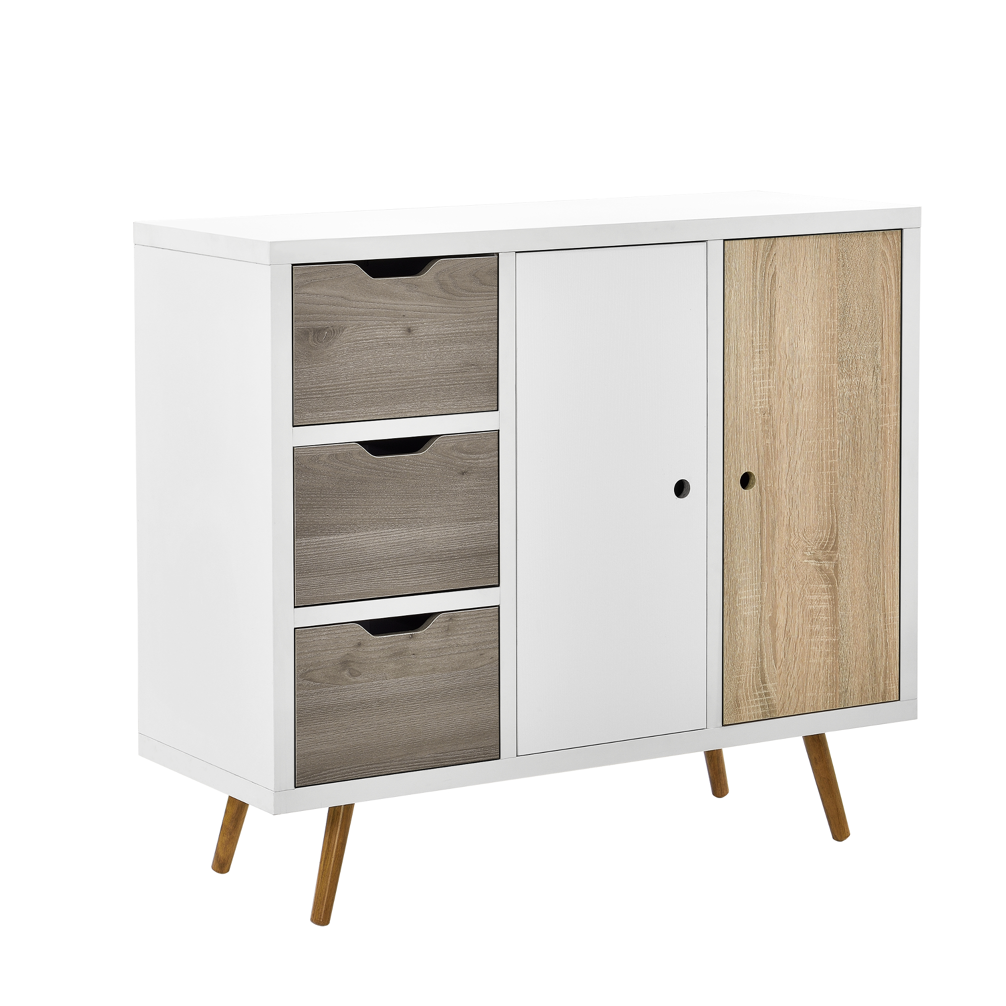 design kommode wei eiche anrichte sideboard schrank regal schubladen ebay. Black Bedroom Furniture Sets. Home Design Ideas