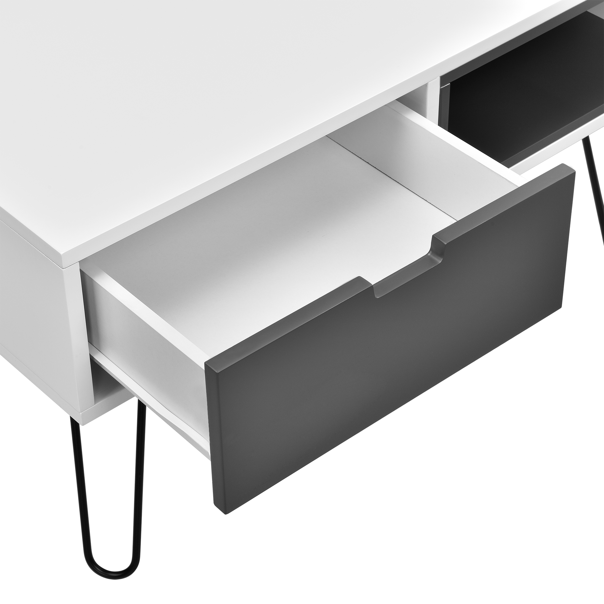 Buffet blanc console commode table d 39 appoint for Table televiseur