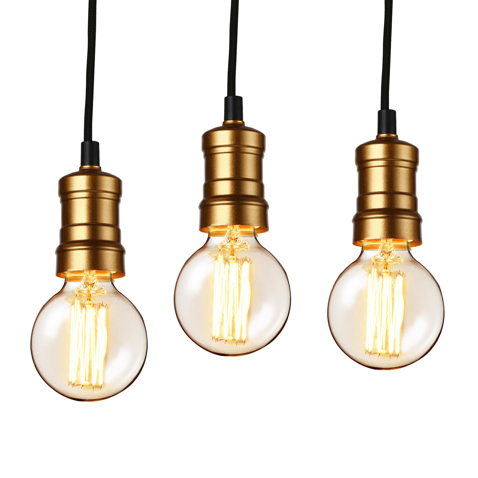 [lux.pro]® Dekoratívní designové závěsné svítidlo / stropní svítidlo - černá / měď (3 x E27)