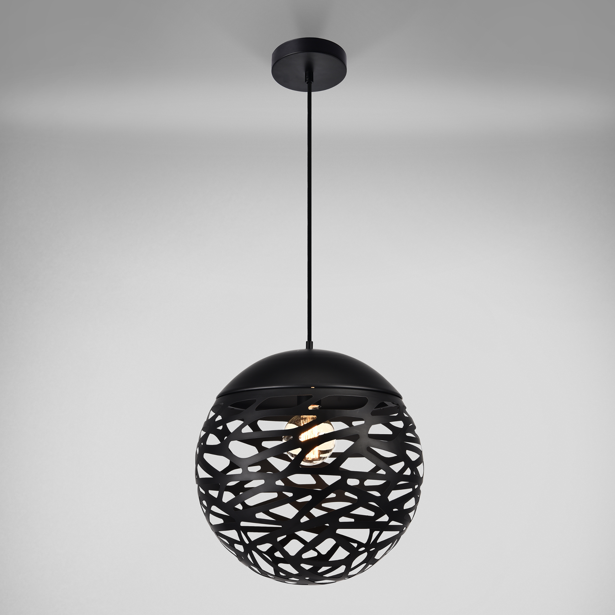 suspension 100 design m tal noir plafonnier luminaire suspendu ebay. Black Bedroom Furniture Sets. Home Design Ideas
