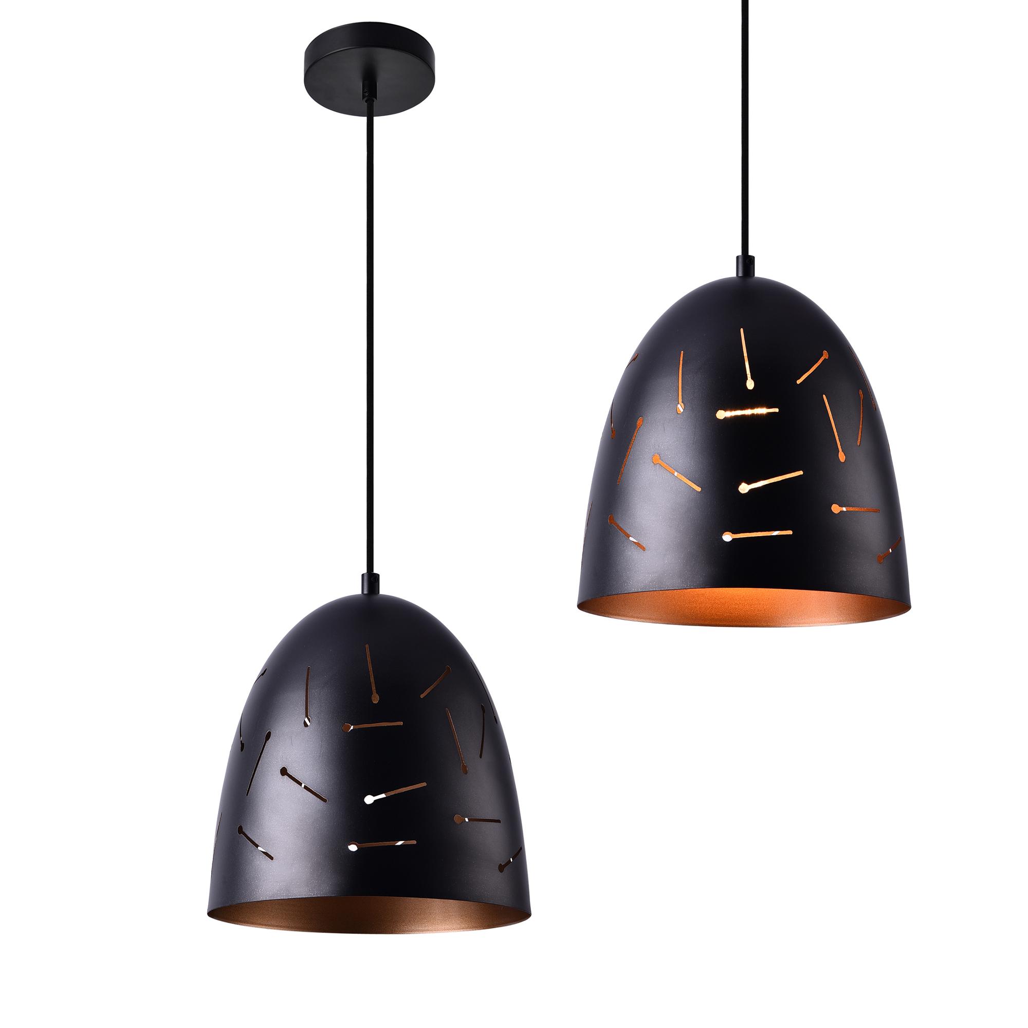 [lux.pro]® Dekoratívní designové závěsné svítidlo / stropní svítidlo - černá / měď (1 x E27)
