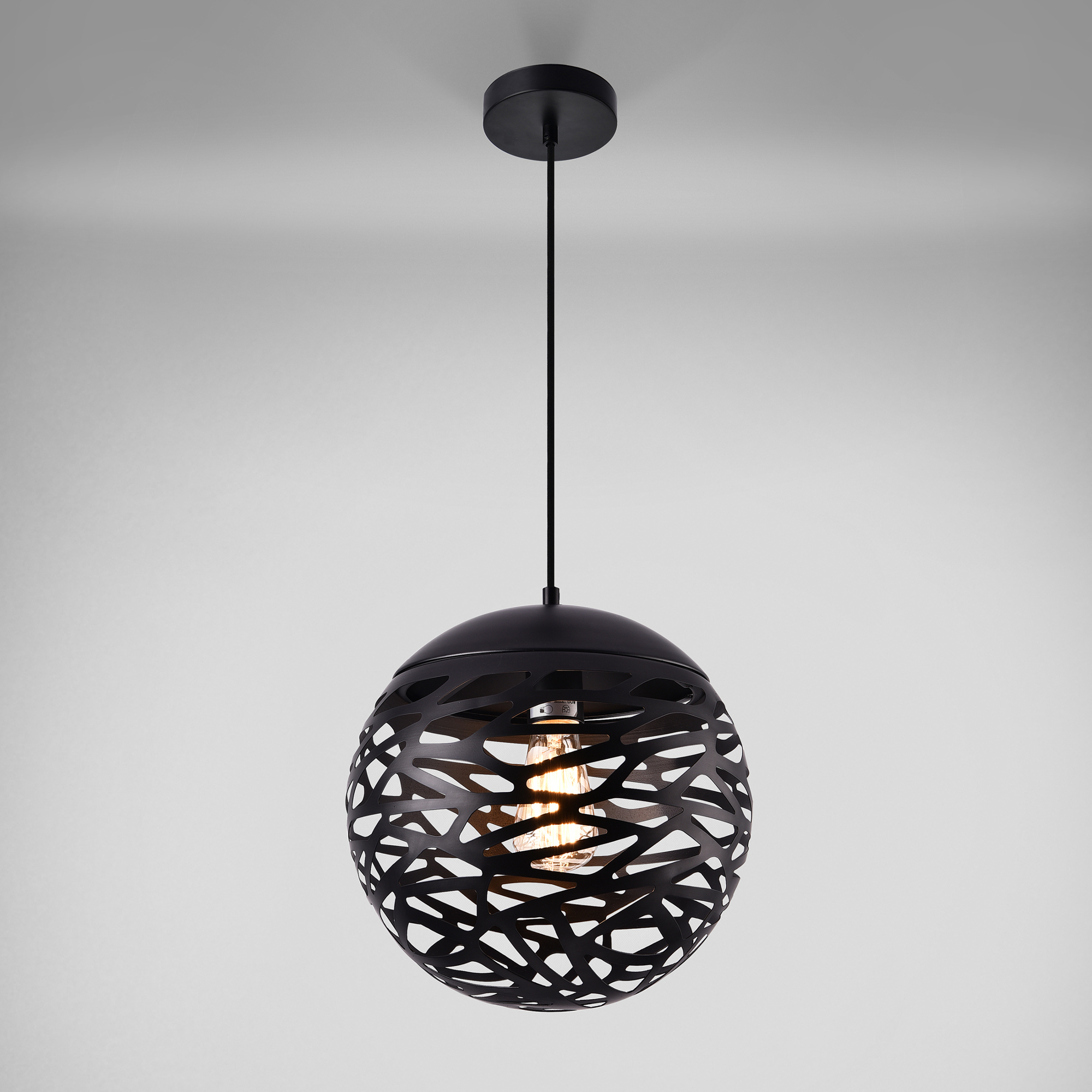 lampe suspension m tal noir plafonnier suspendue lumi re design rond ebay. Black Bedroom Furniture Sets. Home Design Ideas
