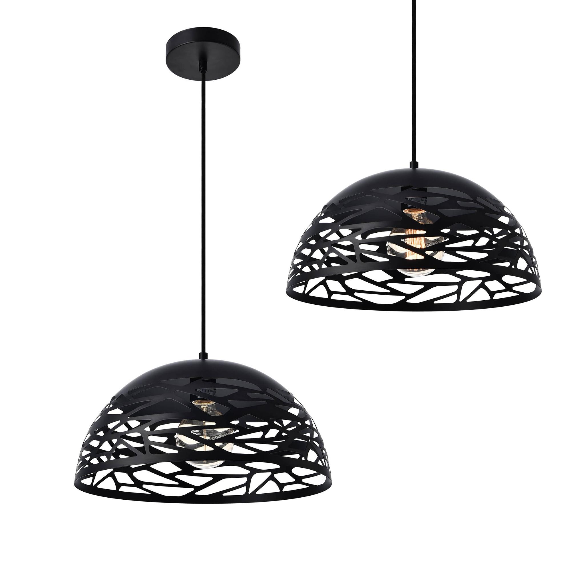 [lux.pro]® Dekoratívní designové závěsné svítidlo / stropní svítidlo - černé (1 x E27)