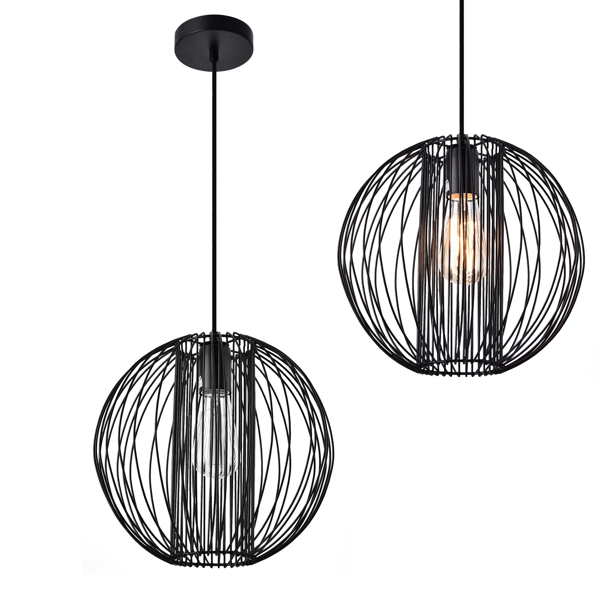 Détails Sur Lux Pro Lampe à Suspension Métal Noir Plafonnier Suspendue Lumière Design Rond