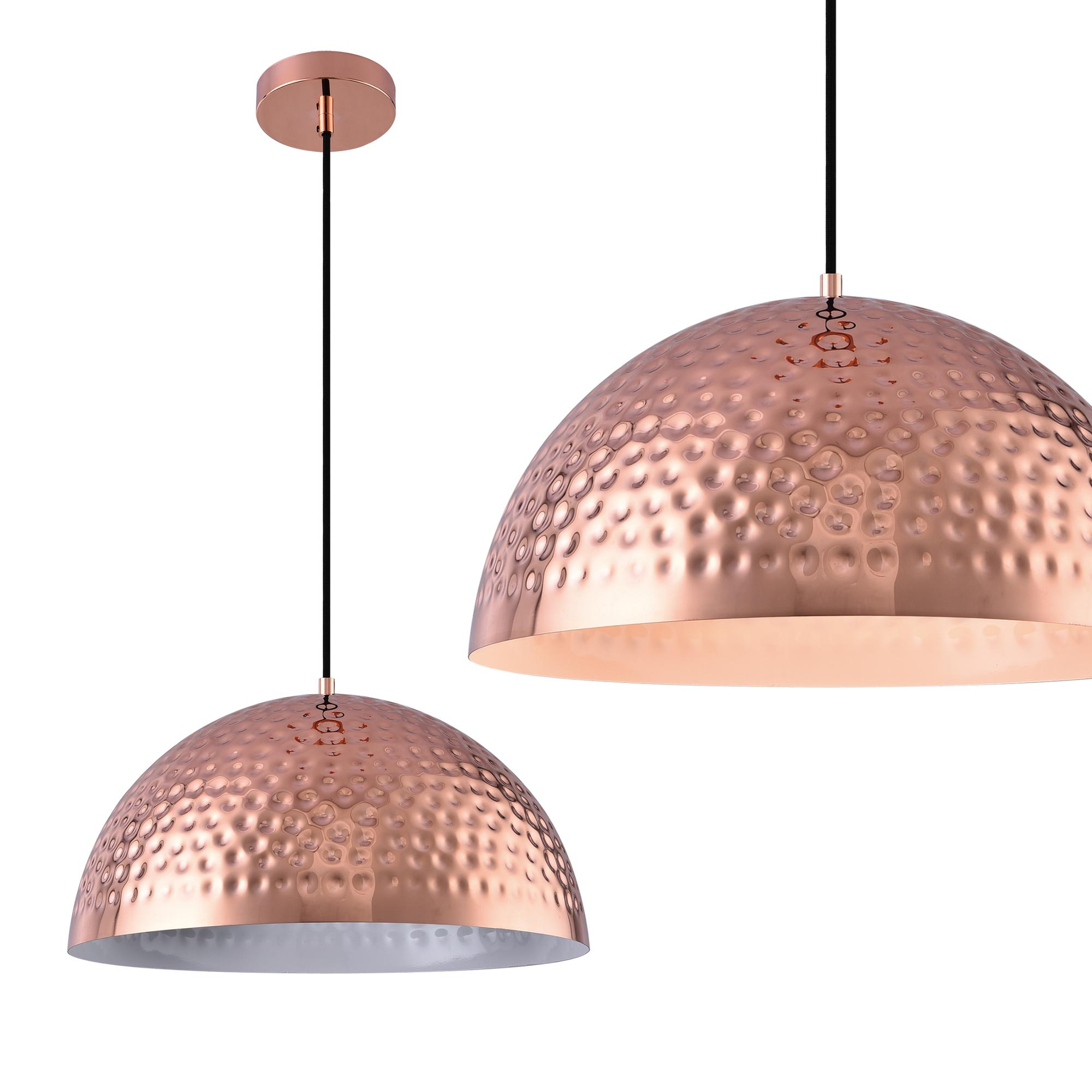 [lux.pro]® Dekoratívní designové závěsné svítidlo / stropní svítidlo - měděné–bílé (1 x E27)