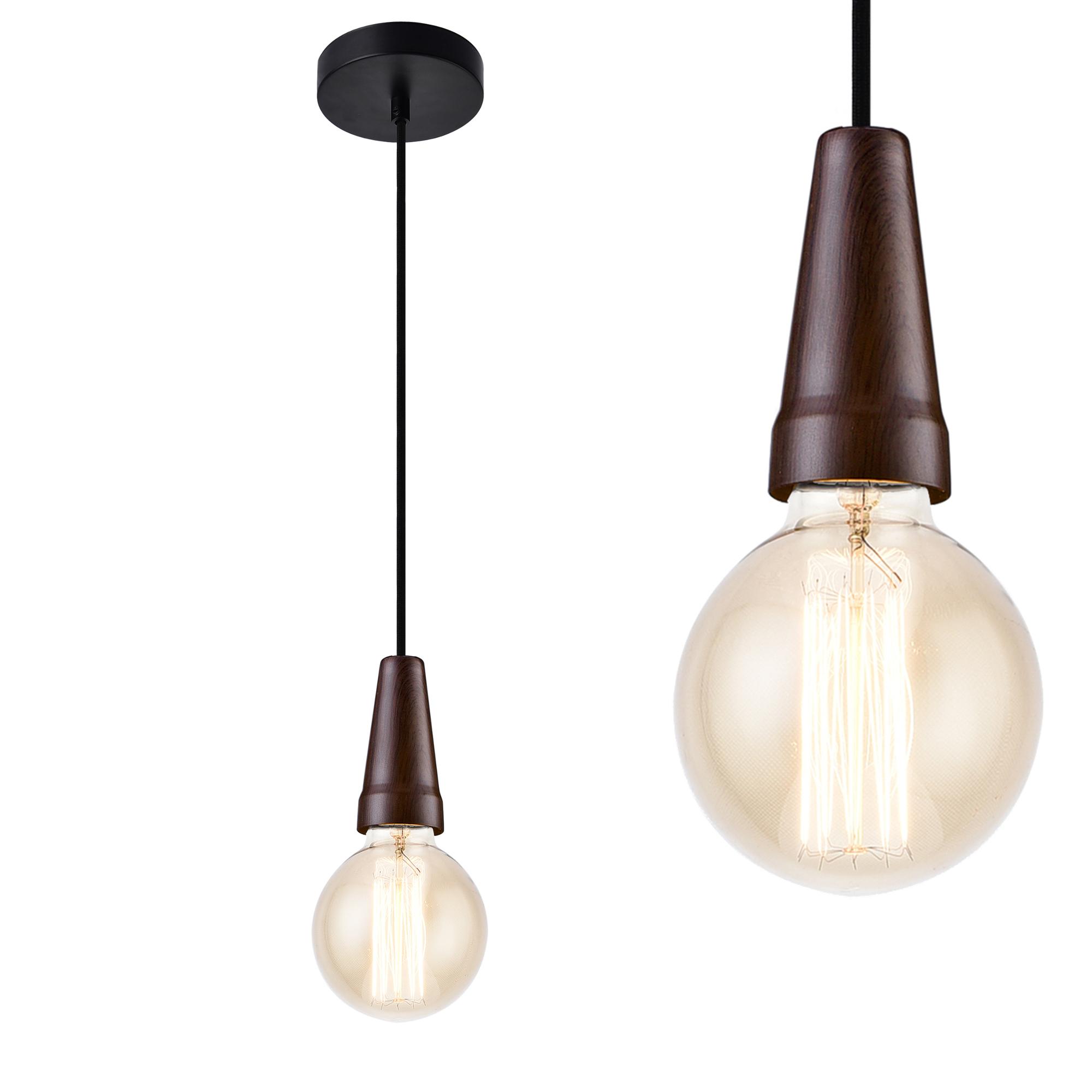 [lux.pro]® Dekoratívní designové závěsné svítidlo / stropní svítidlo - černá / dřevo (1 x E27)