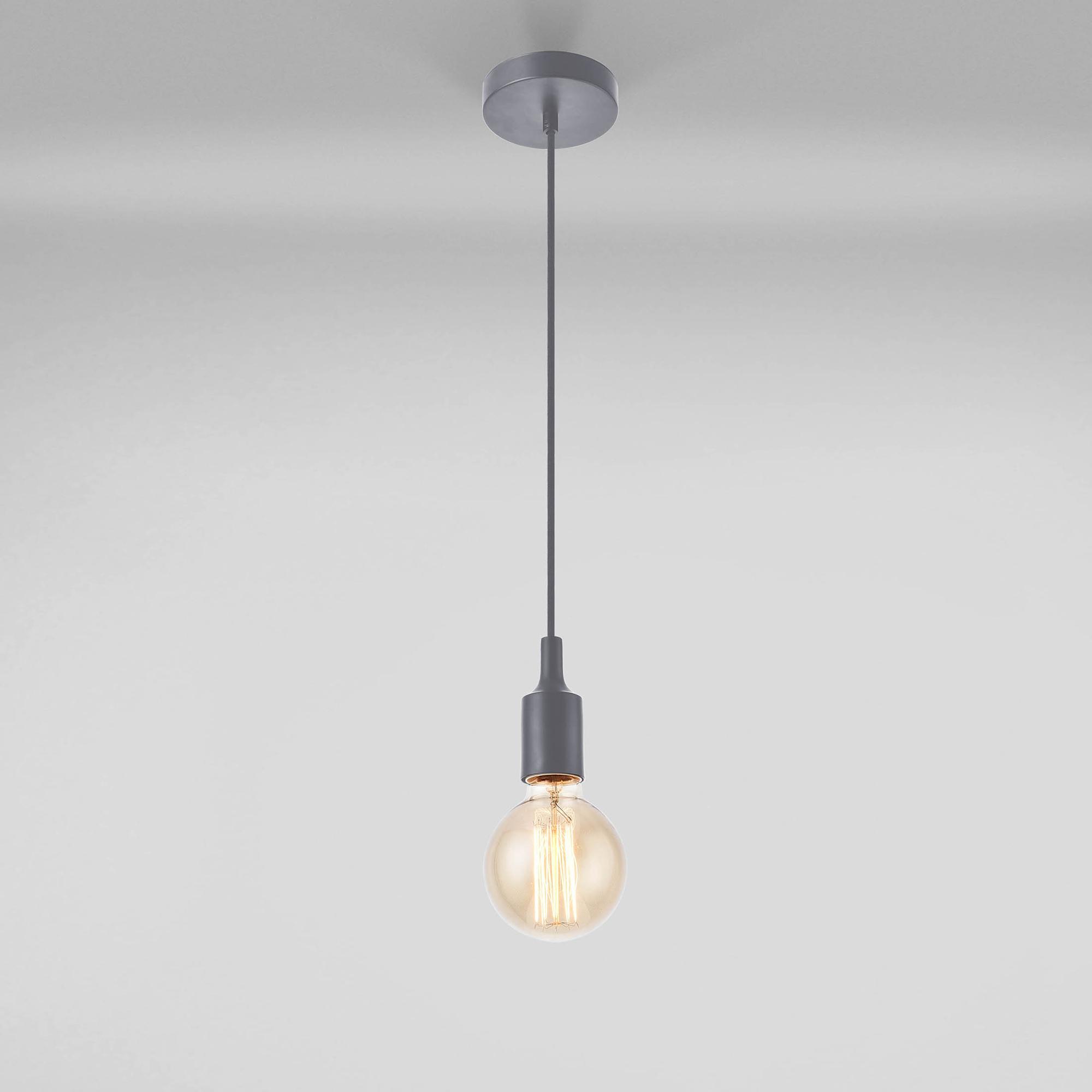 Suspensions douille de lampe plafonnier gris for Suspension luminaire gris