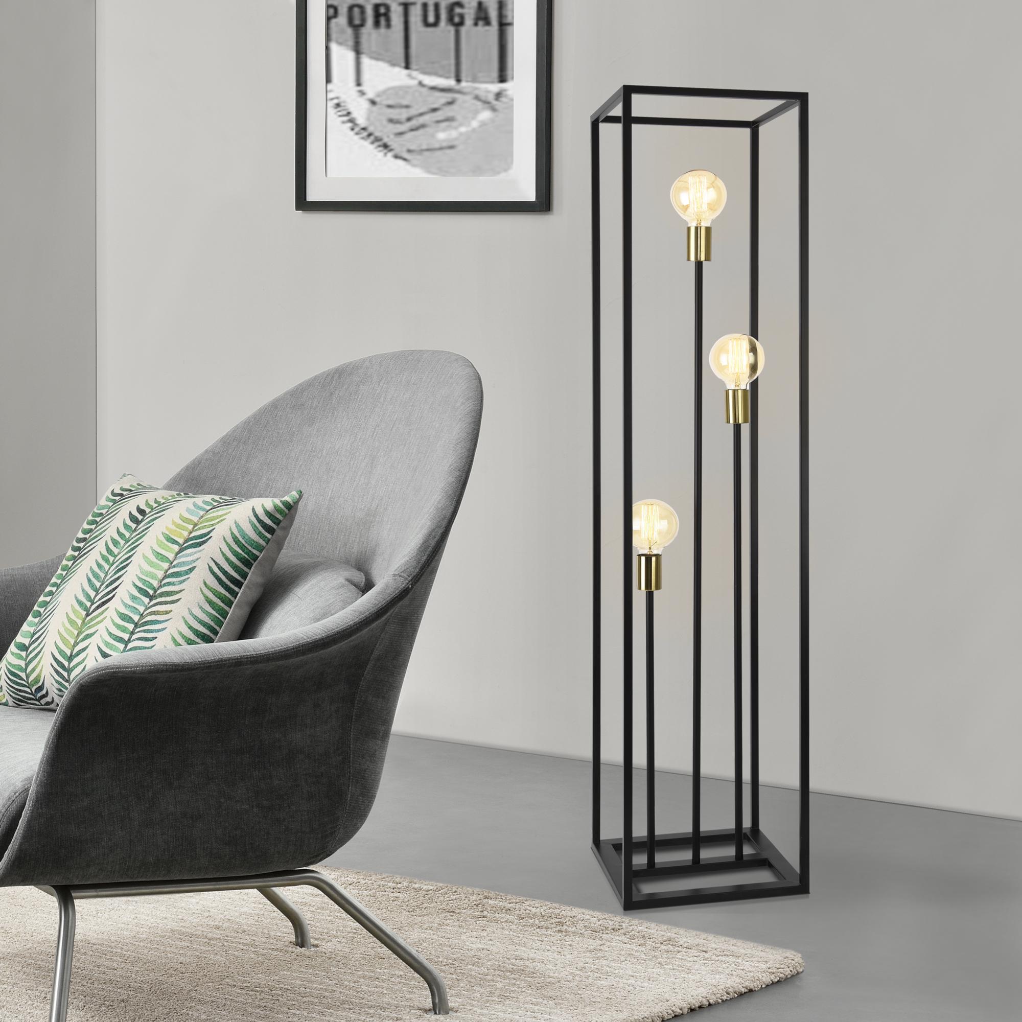 Details zu [lux.pro] Stehleuchte 140cm Stehlampe Standleuchte Stand Lampe Metall 3 flammig