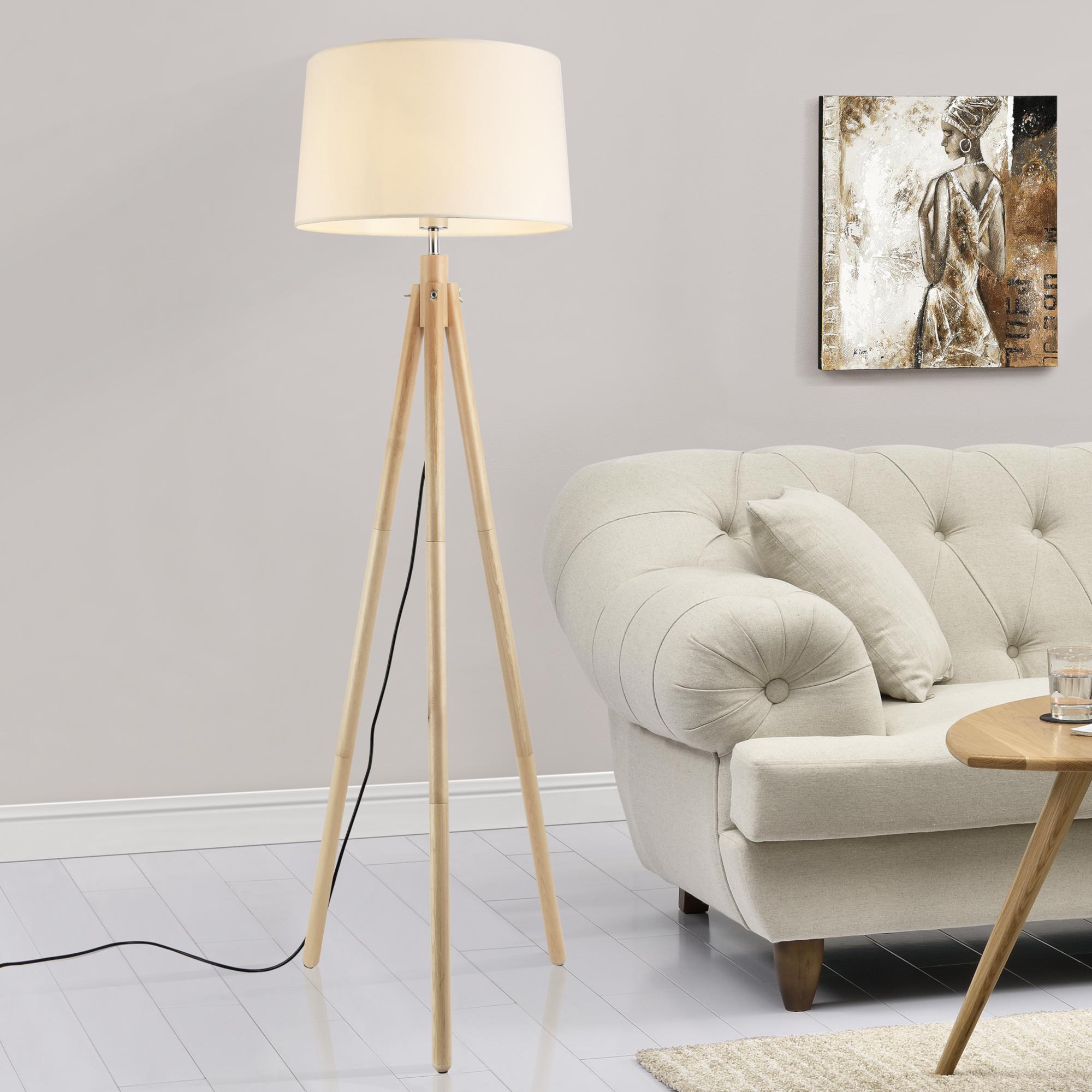 Lux Pro Lampadaire Lampe Bois Metal Tissu Effet Bois Blanc 153cm