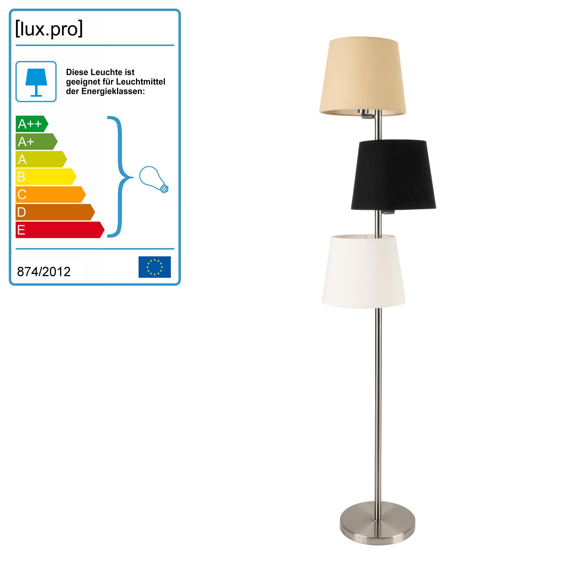 Boite À Cables Ikea détails sur [lux.pro] lampadaire métal et tissu 3 x e14 h : 149 cm cuivre  crème noir blanc