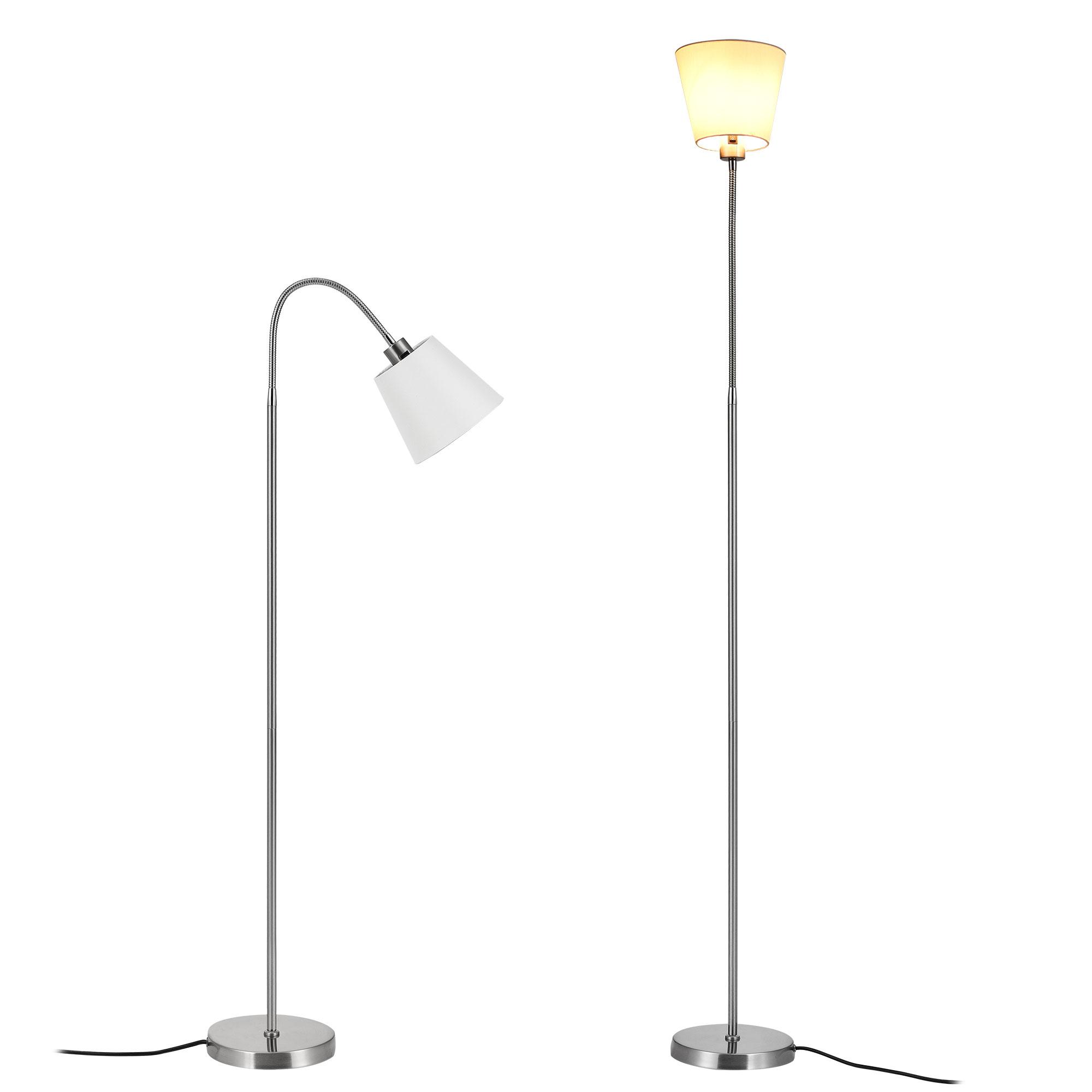 [lux.pro]® Lampa de podea eleganta – Whippy 1 x E 27 – 60W – alb/ crom