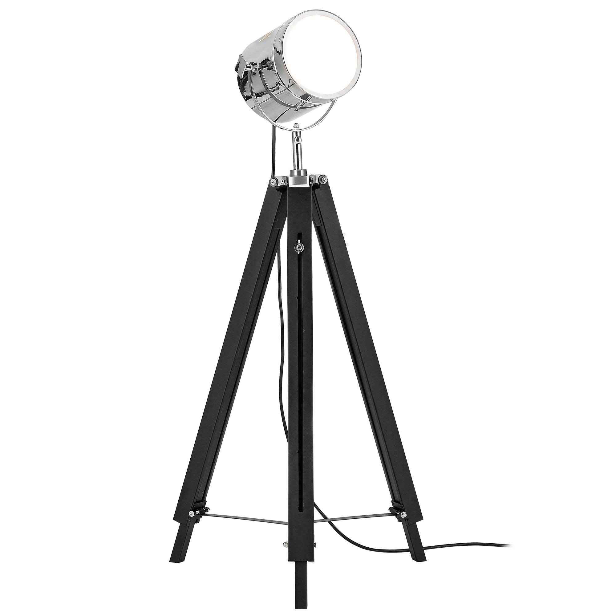 [lux.pro]® Lampa de podea eleganta – Tripod 1 x E 27 – 60W – crom / negru