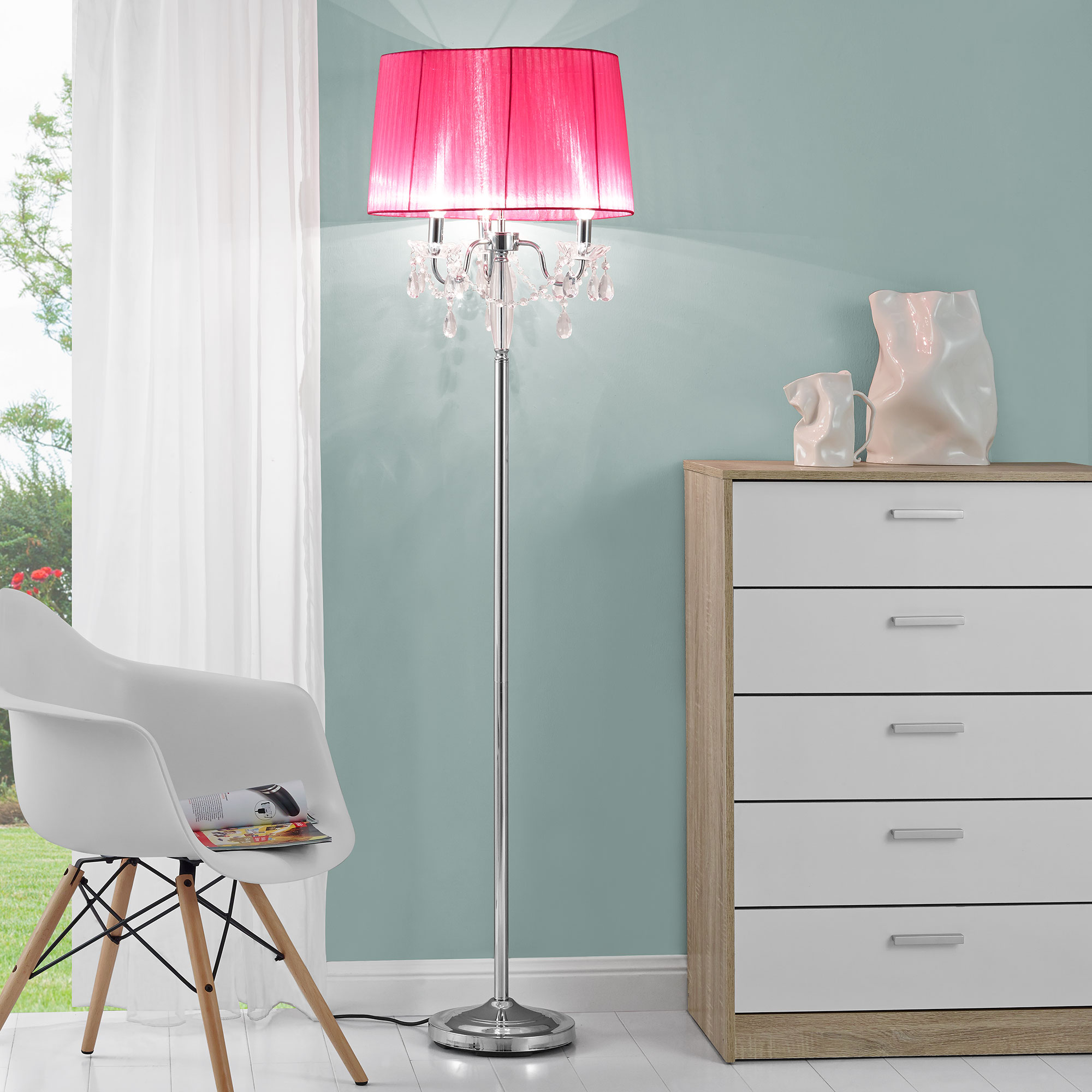 LuxproR Stehleuchte Stehlampe Lampe Wohnzimmerlampe Leuchte Standleuchte Pink